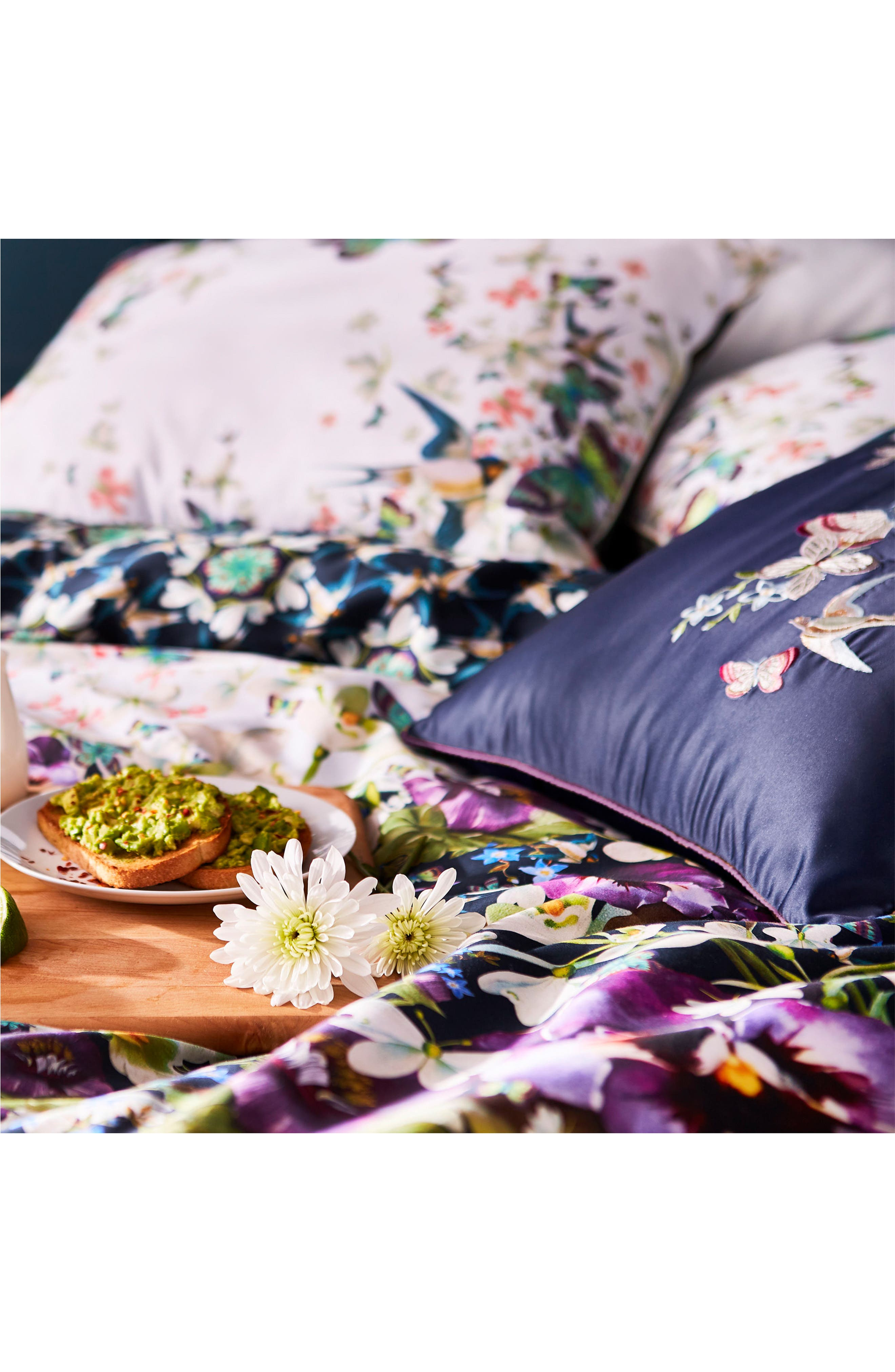 TED BAKER LONDON, Entangled Enchantment Comforter & Sham Set, Alternate thumbnail 9, color, SKY