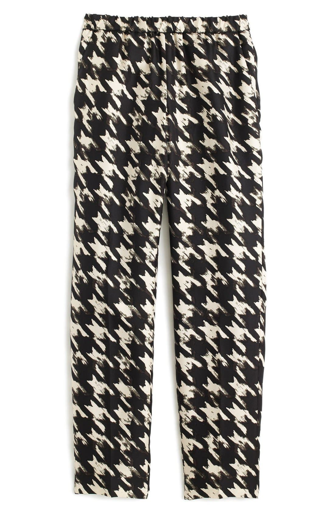 J.CREW, Forrester Wolfstooth Silk Pants, Alternate thumbnail 3, color, 901