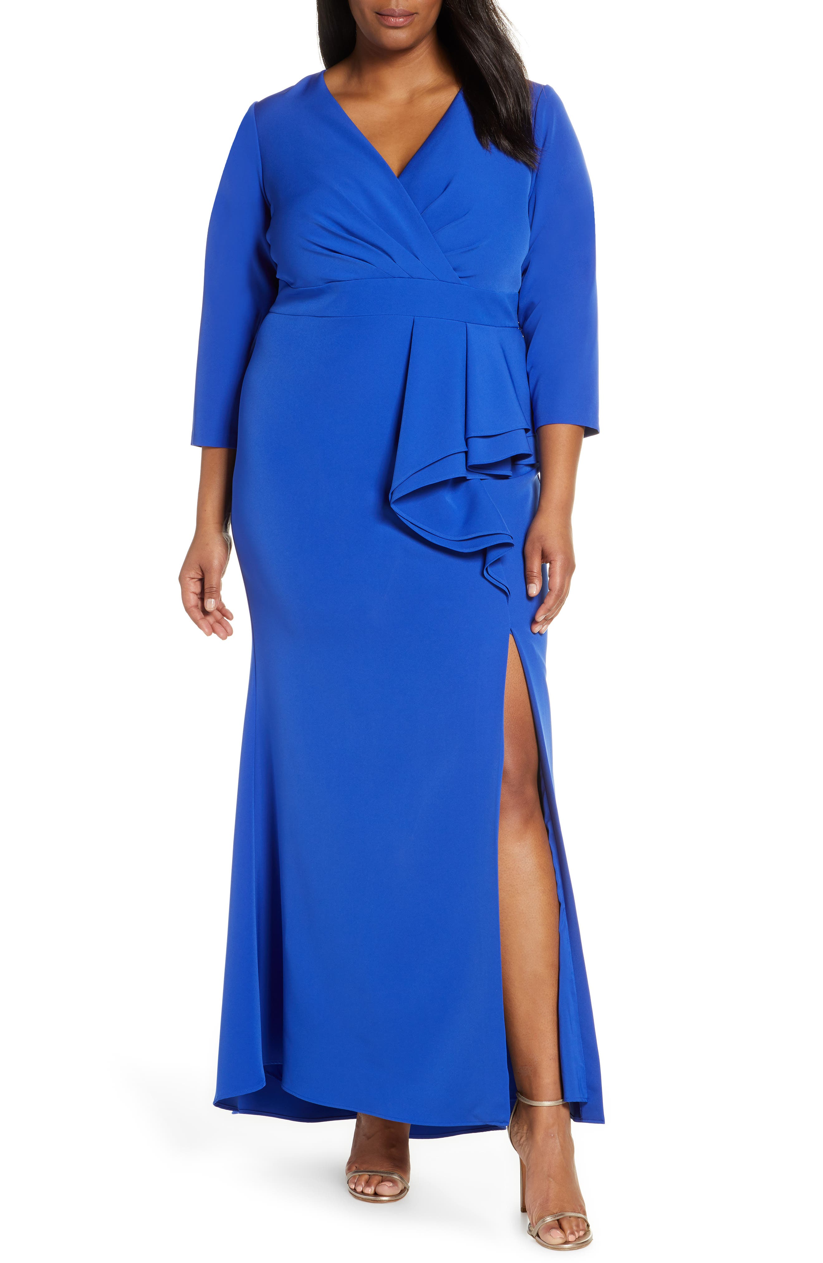 Plus Size Eliza J Side Ruffle Faux Wrap Gown, Blue