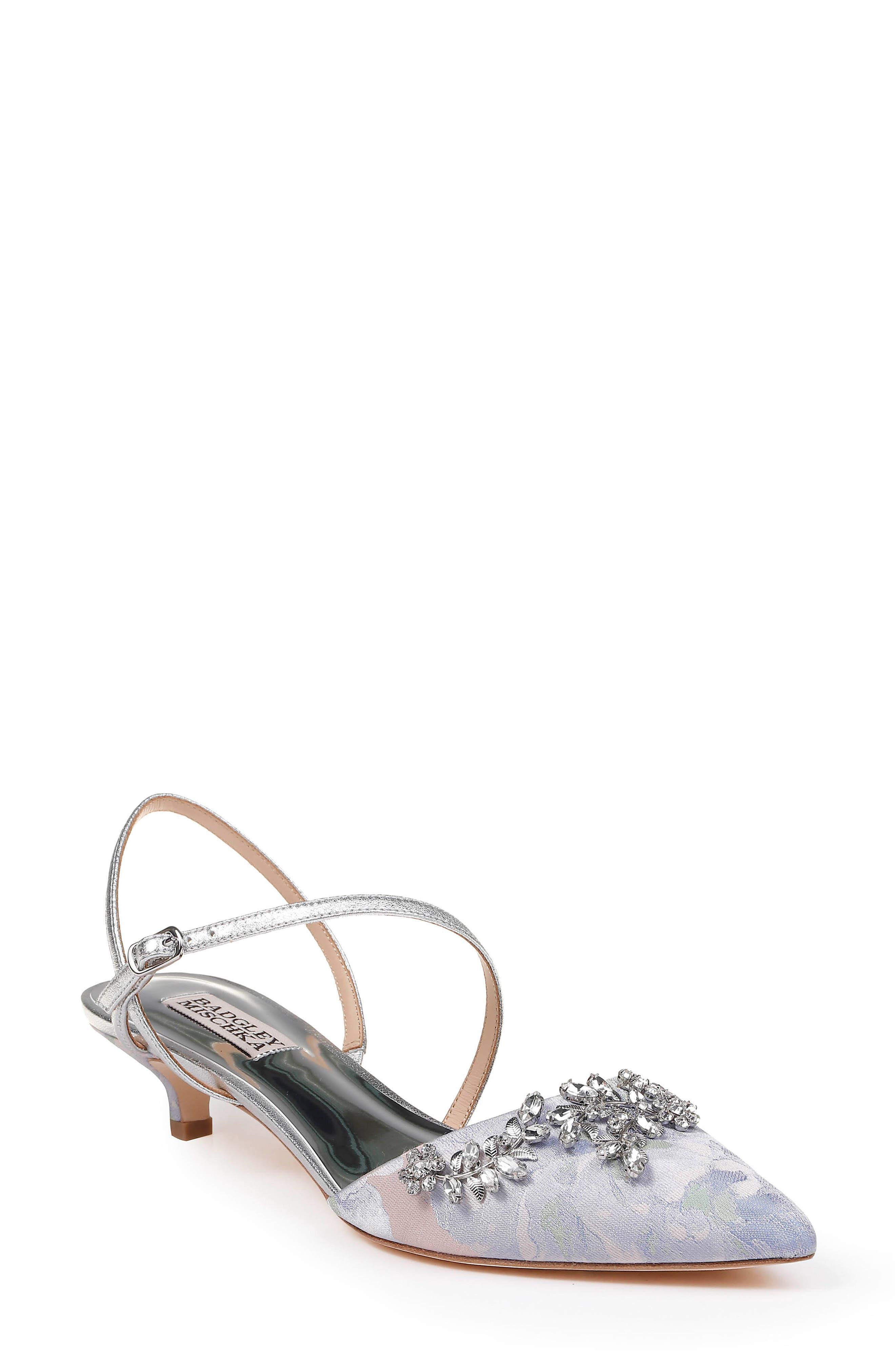 BADGLEY MISCHKA COLLECTION Badgley Mischka Crystal Embellished Quarter Strap Pump, Main, color, POWDER MULTI FABRIC