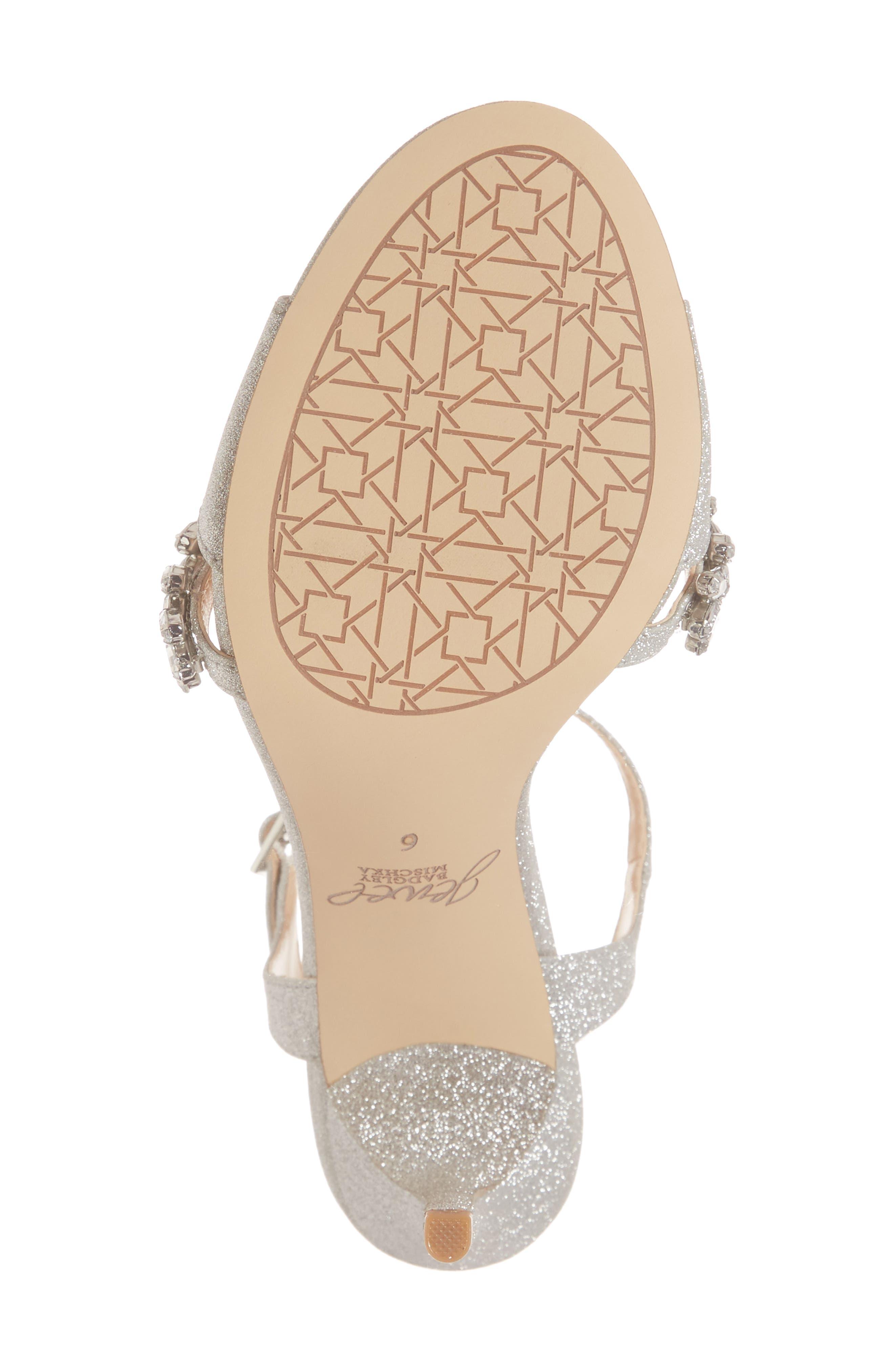 JEWEL BADGLEY MISCHKA, Maxi Crystal Embellished Sandal, Alternate thumbnail 6, color, SILVER GLITTER FABRIC