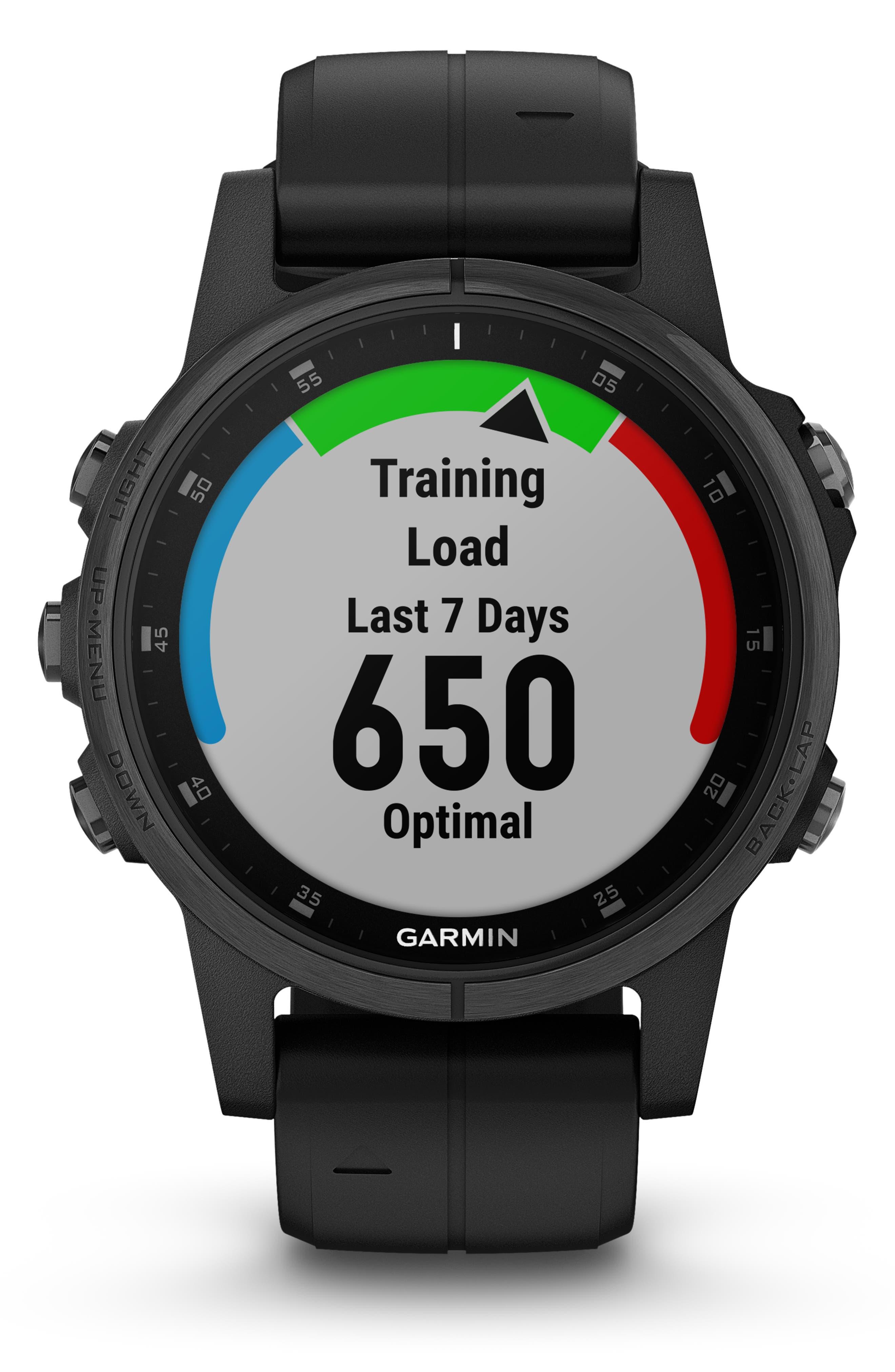 GARMIN, fenix<sup>®</sup> 5S Plus Sapphire Premium Multisport GPS Watch, 42mm, Alternate thumbnail 7, color, BLACK