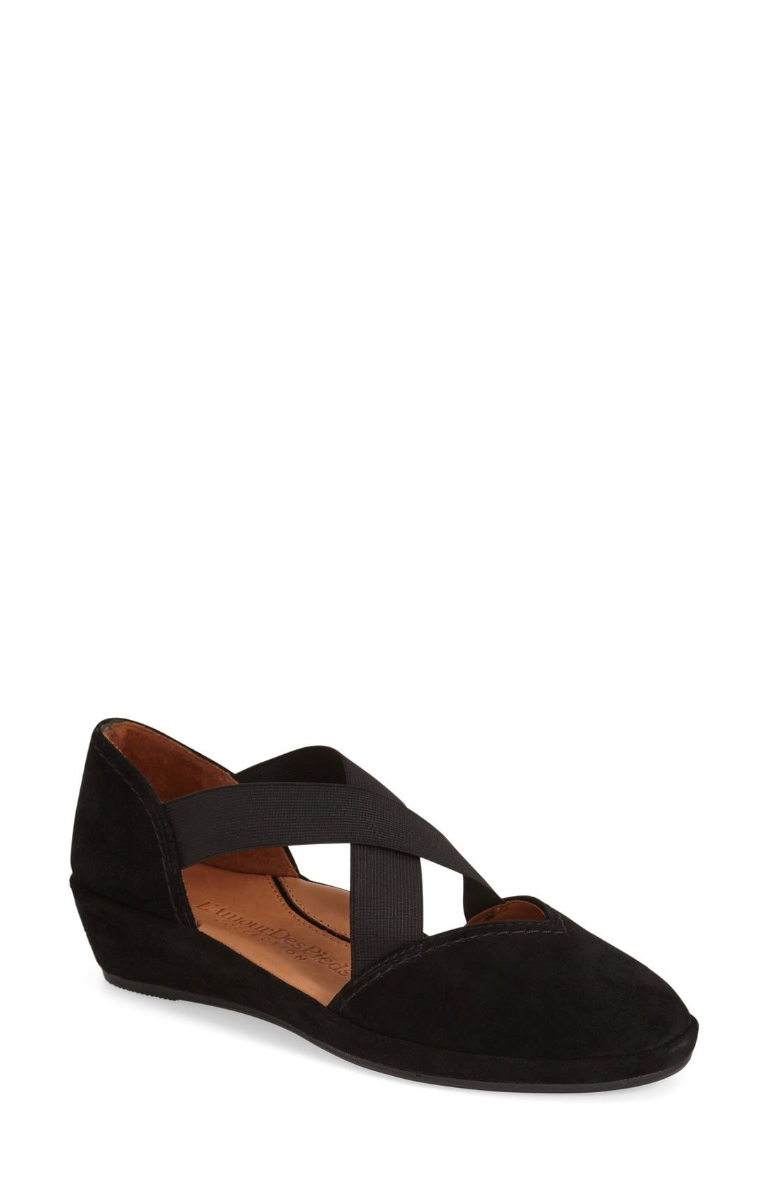 L'AMOUR DES PIEDS, 'Bane' Wedge, Main thumbnail 1, color, BLACK KIDSUEDE