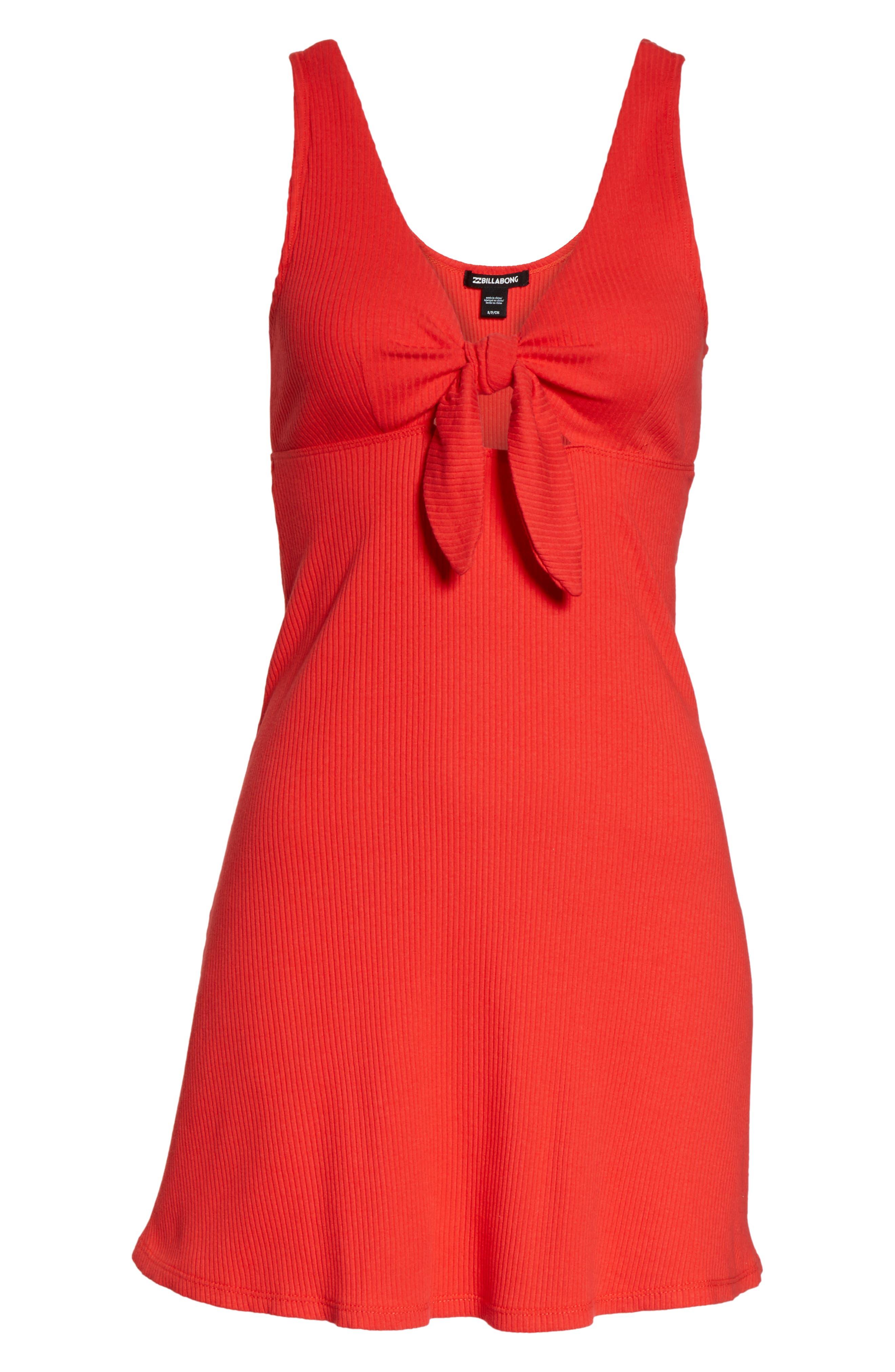 BILLABONG, Hola Holiday Cutout Minidress, Alternate thumbnail 5, color, SUNSET RED