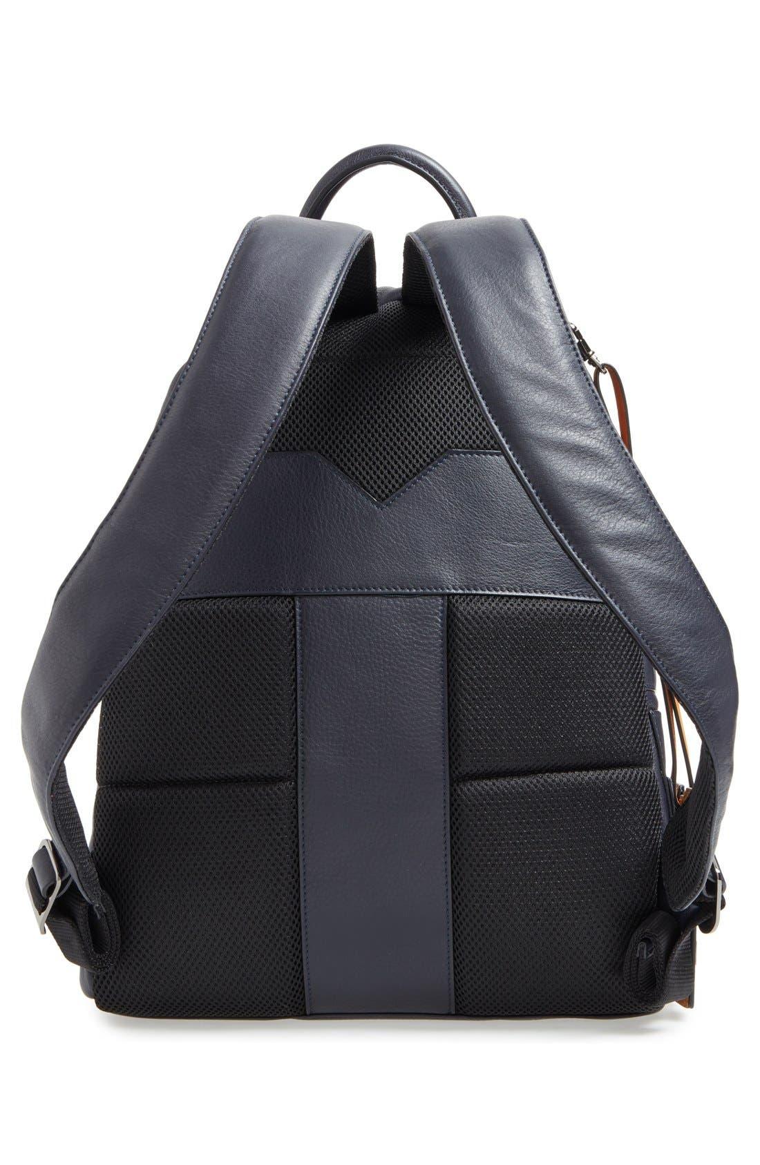 TED BAKER LONDON, 'Dollar' Leather Backpack, Alternate thumbnail 6, color, 410