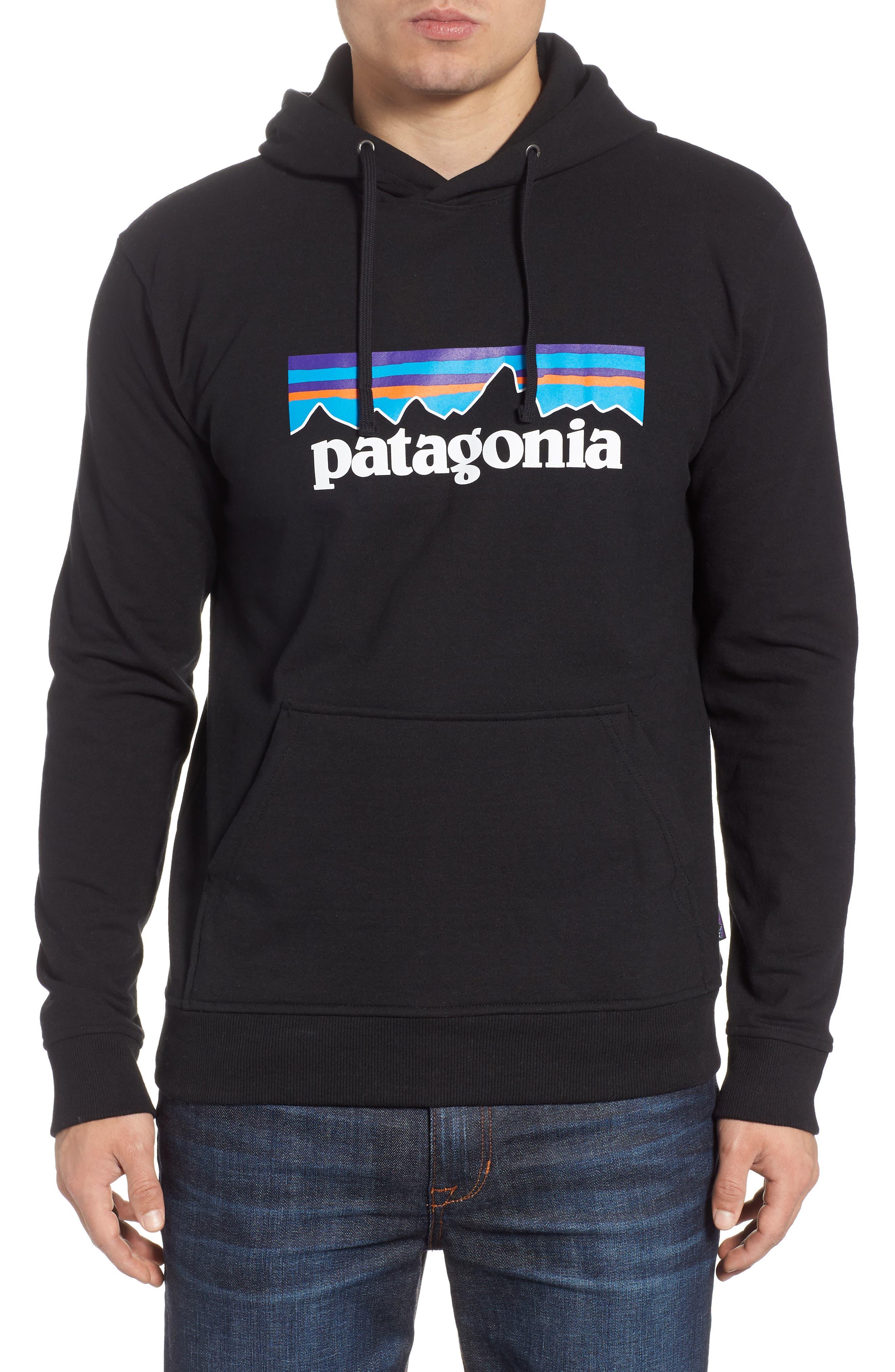 PATAGONIA, P6 Logo Uprisal Hooded Sweatshirt, Main thumbnail 1, color, BLACK