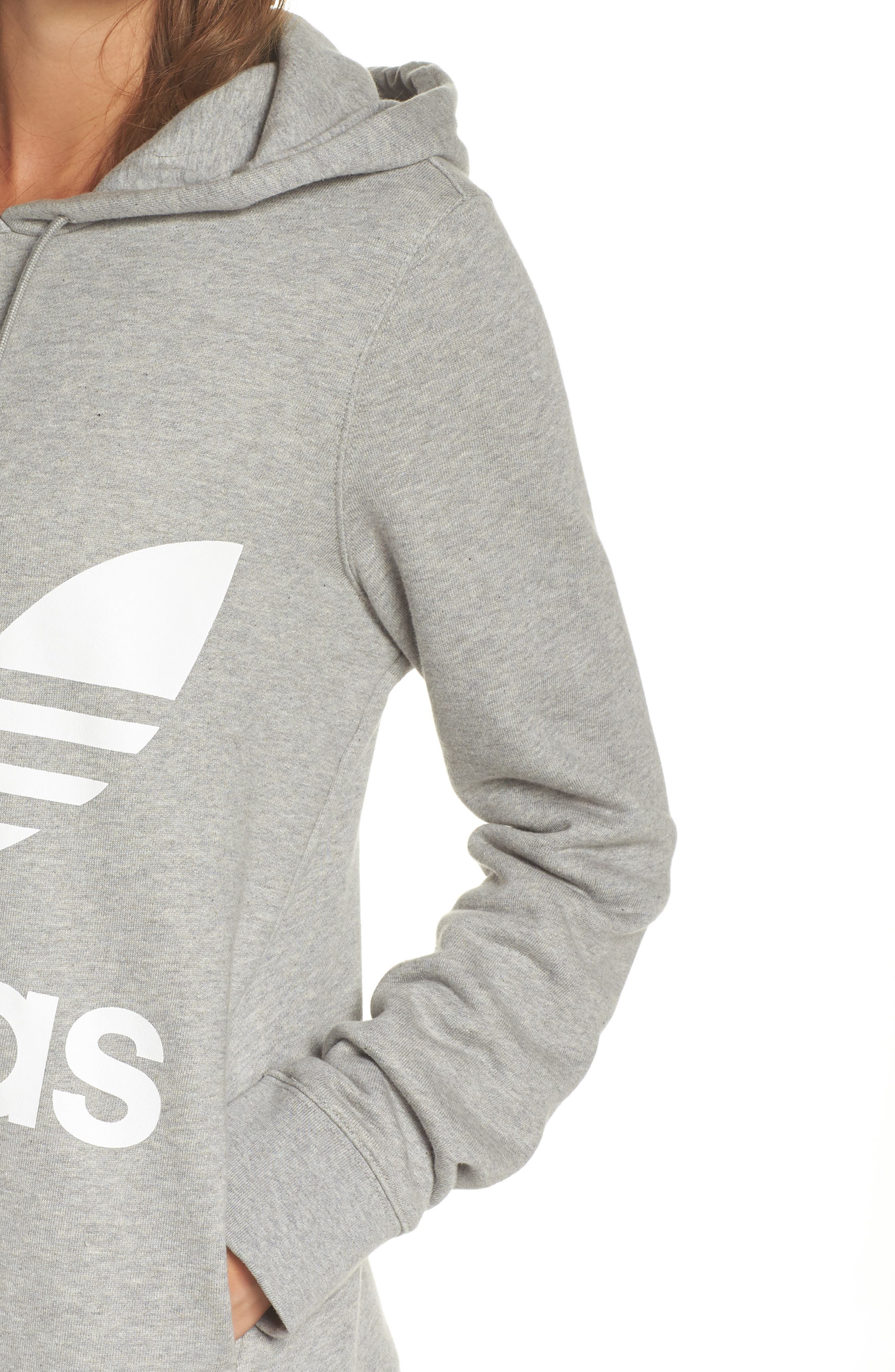 ADIDAS ORIGINALS, Trefoil Hoodie, Alternate thumbnail 5, color, MEDIUM GREY HEATHER