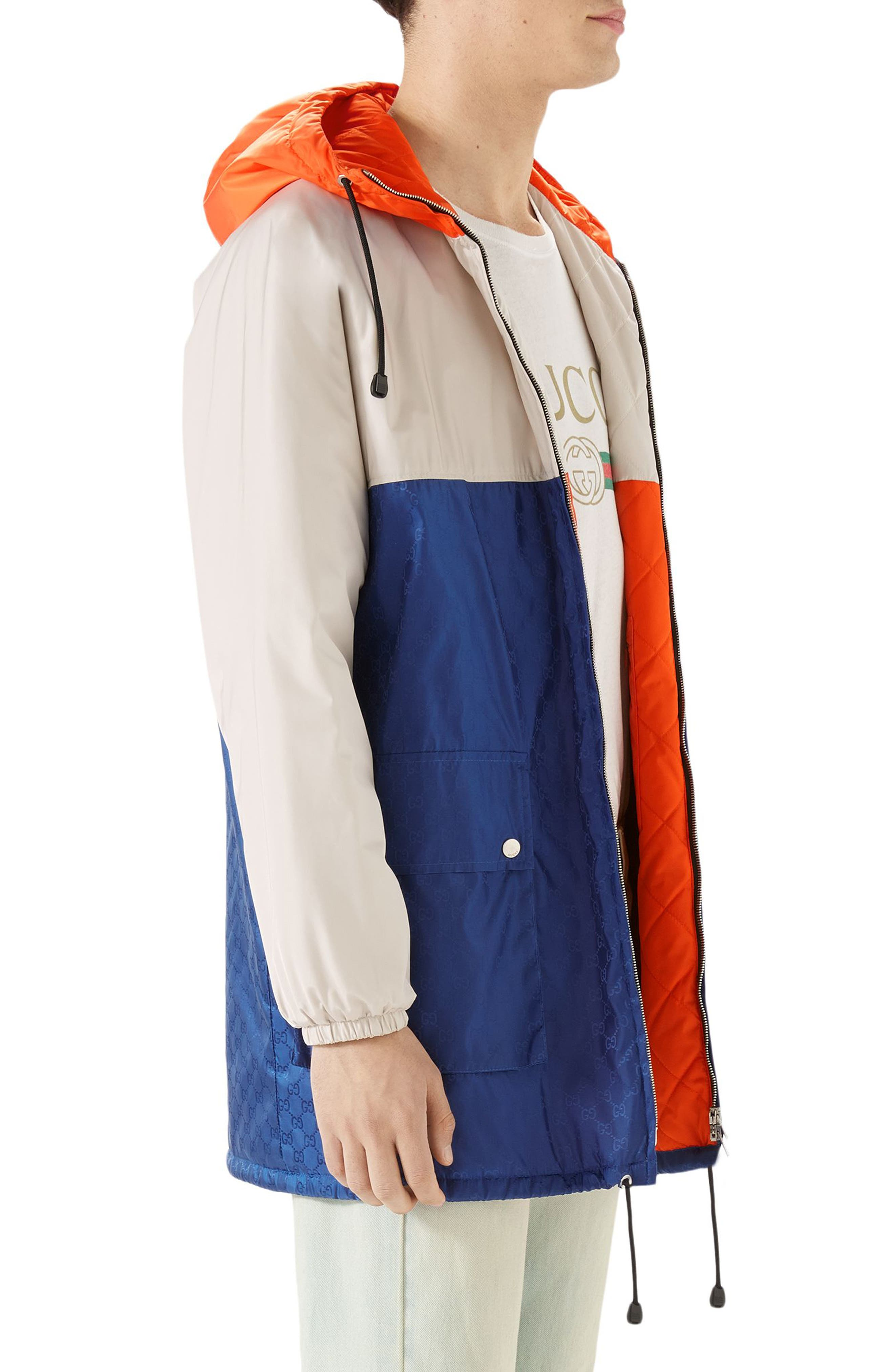 GUCCI, Multicolor Hooded Jacket, Alternate thumbnail 3, color, BLUE