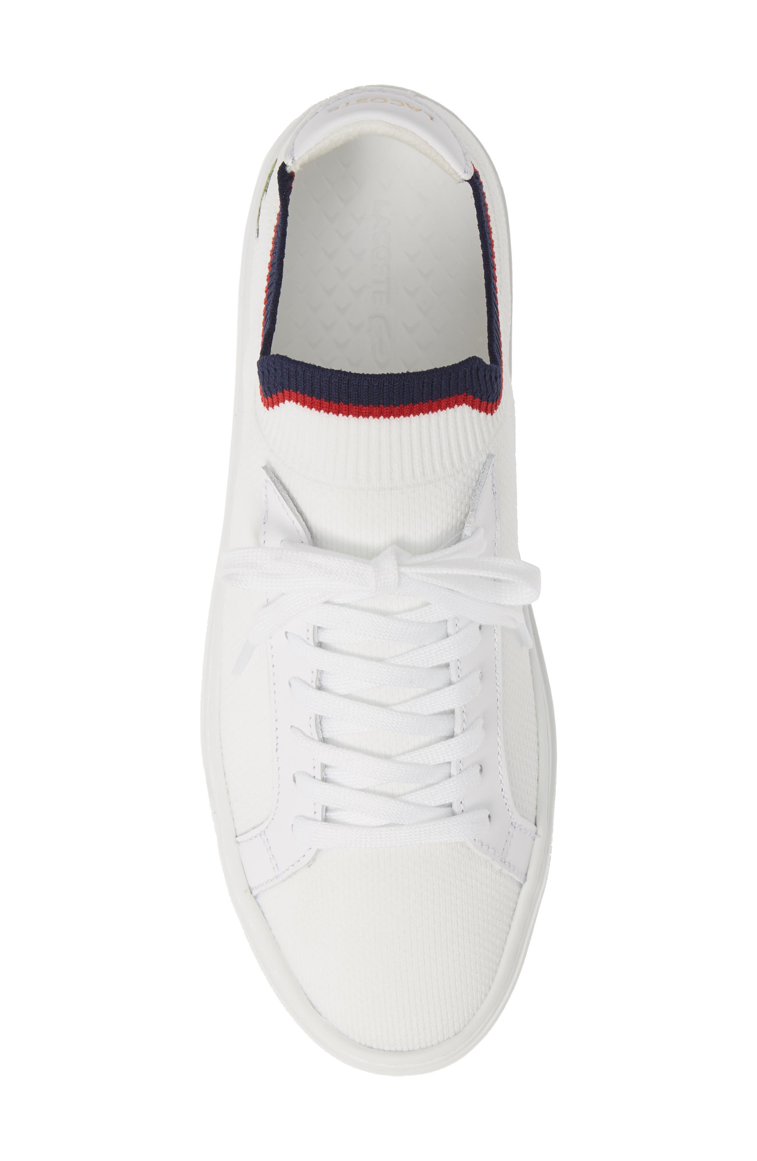 LACOSTE, Piqué Knit Sneaker, Alternate thumbnail 5, color, WHITE/ NAVY/ RED
