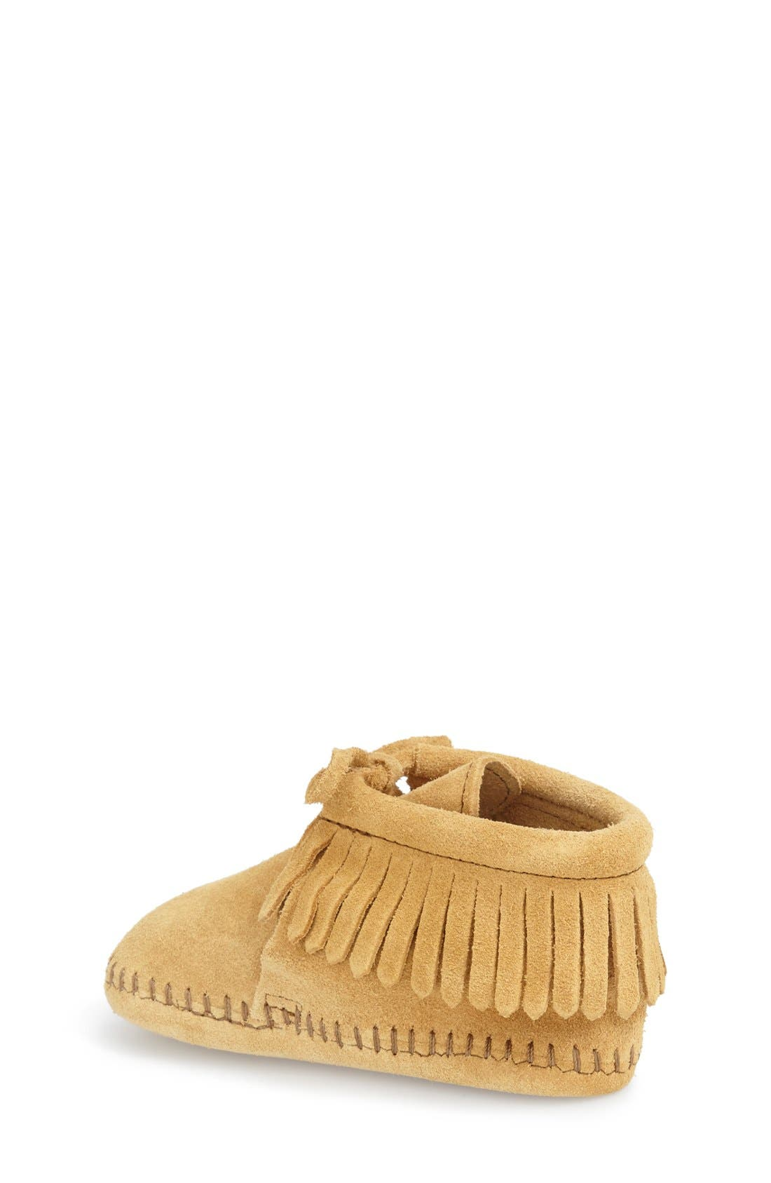 MINNETONKA, Fringe Bootie, Alternate thumbnail 3, color, TAN SUEDE
