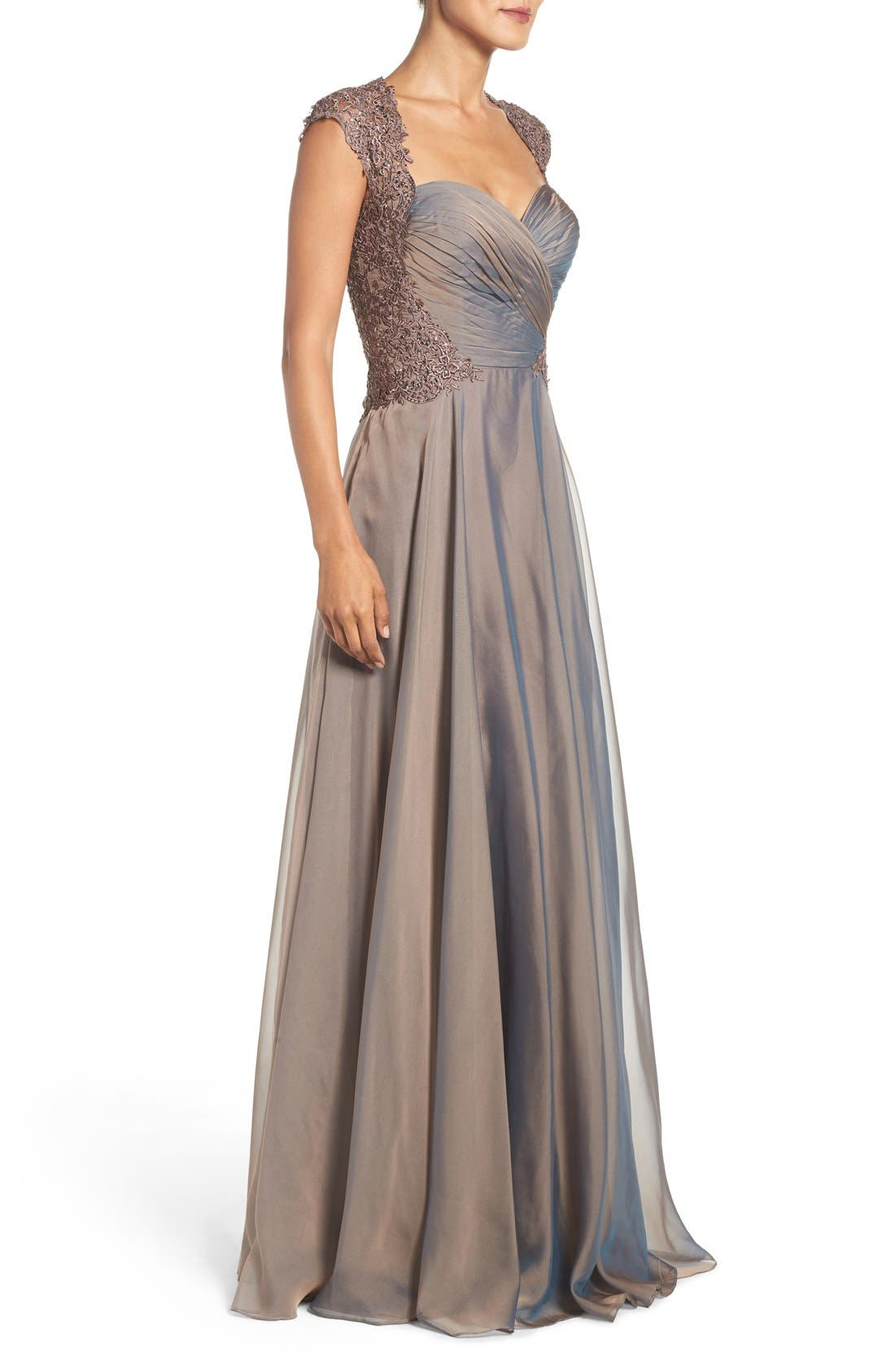 LA FEMME, Ruched Chiffon Gown, Alternate thumbnail 3, color, COCOA
