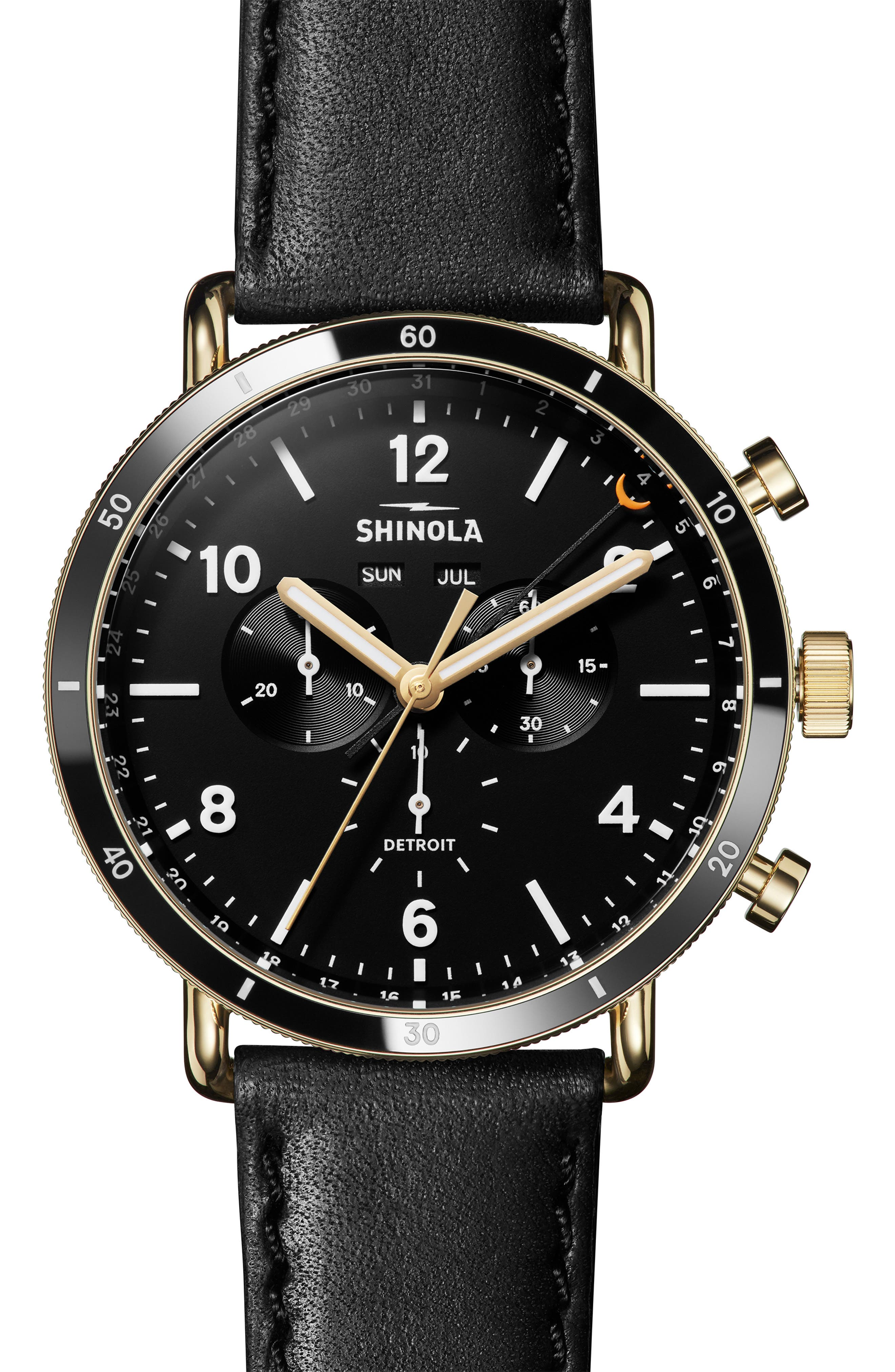 SHINOLA, The Canfield Sport Chrongraph Leather Strap Watch, 45mm, Main thumbnail 1, color, BLACK/ GOLD