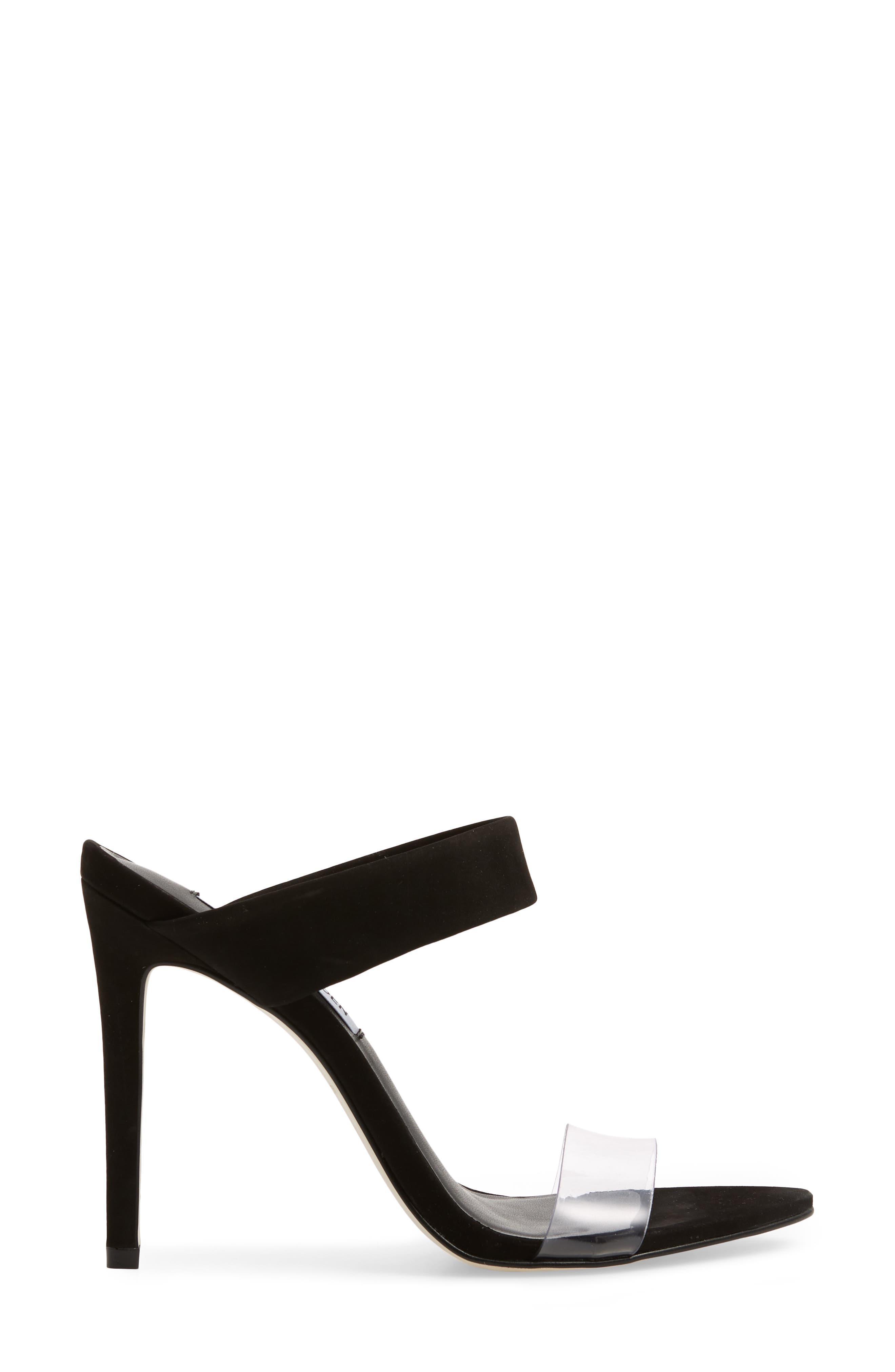 STEVE MADDEN, Amaya Clear Slide Sandal, Alternate thumbnail 3, color, BLACK NUBUCK LEATHER