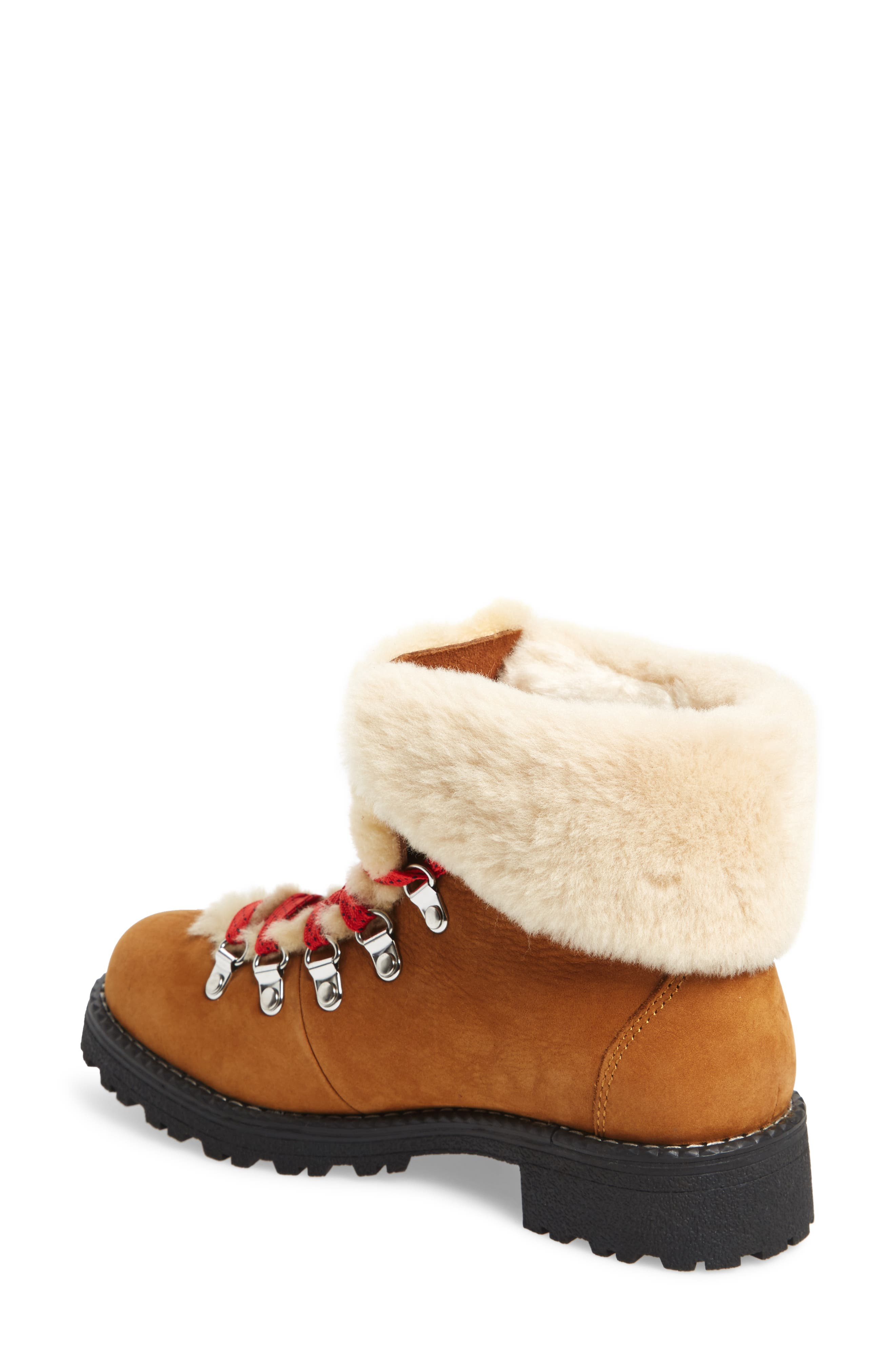J.CREW, Nordic Genuine Shearling Cuff Winter Boot, Alternate thumbnail 2, color, GLAZED PECAN LEATHER