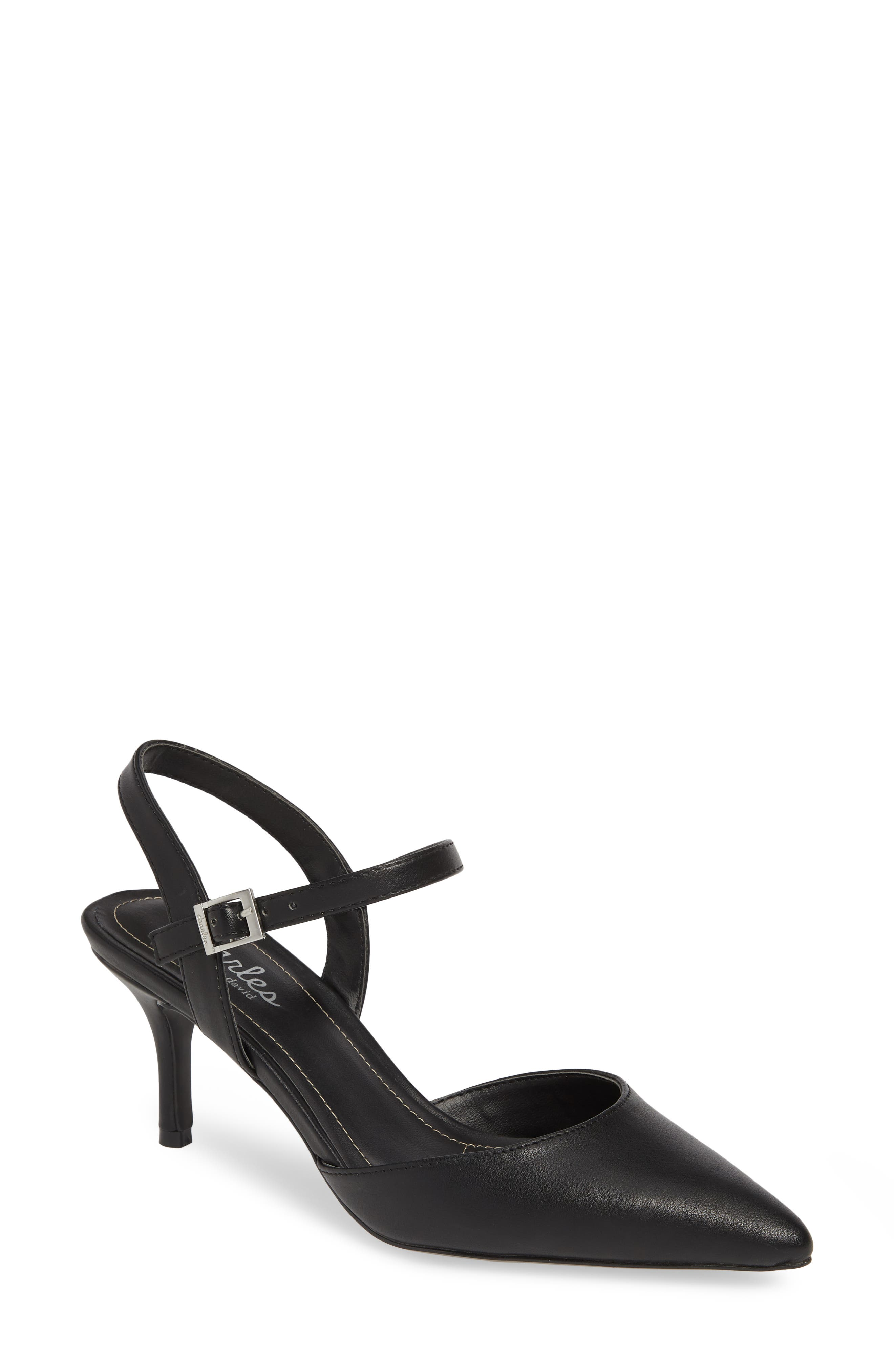 CHARLES BY CHARLES DAVID, Ankle Strap Pump, Main thumbnail 1, color, BLACK FAUX LEATHER