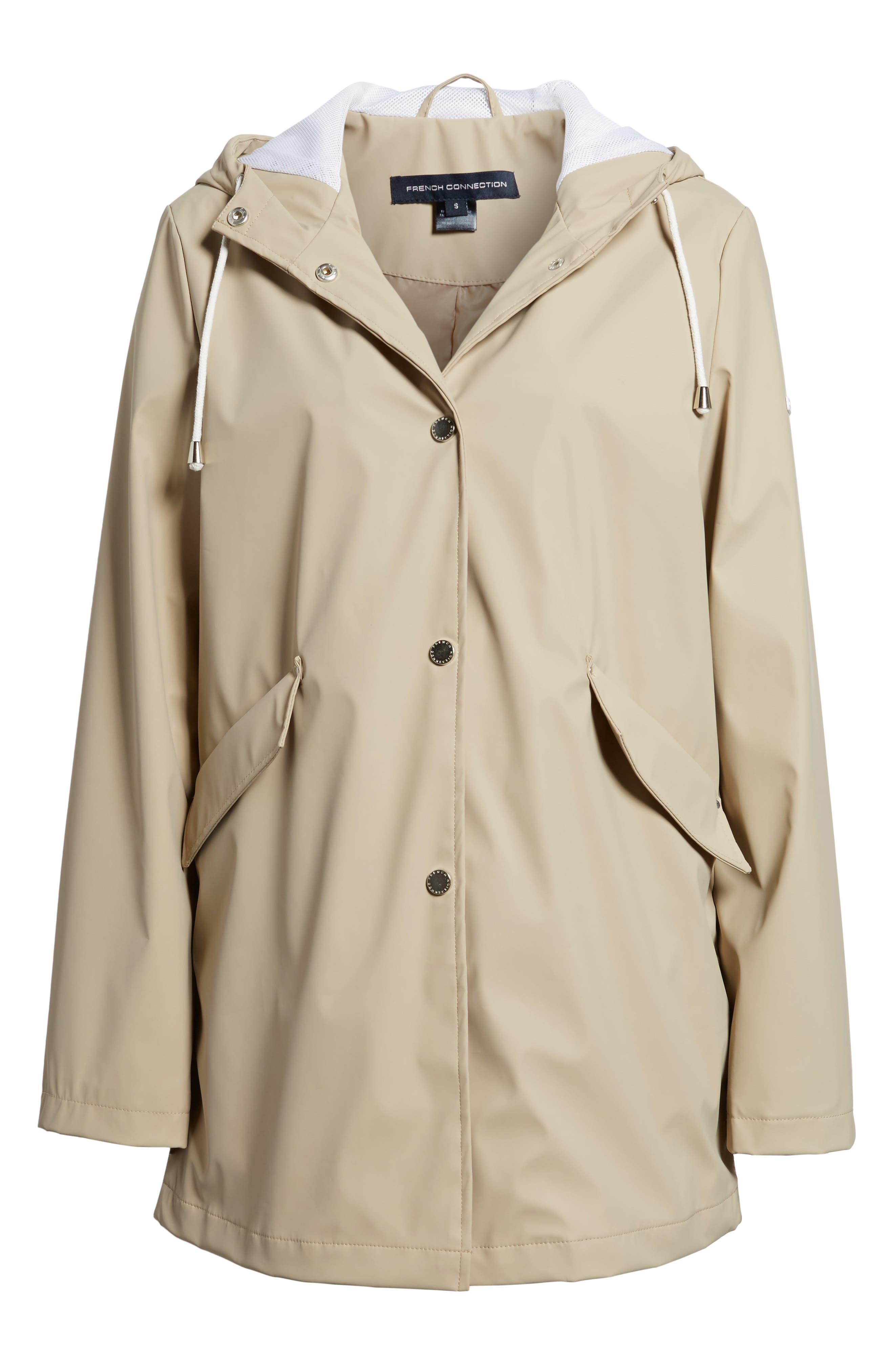 FRENCH CONNECTION, Side Zip Hem Hooded Slicker, Alternate thumbnail 5, color, 252
