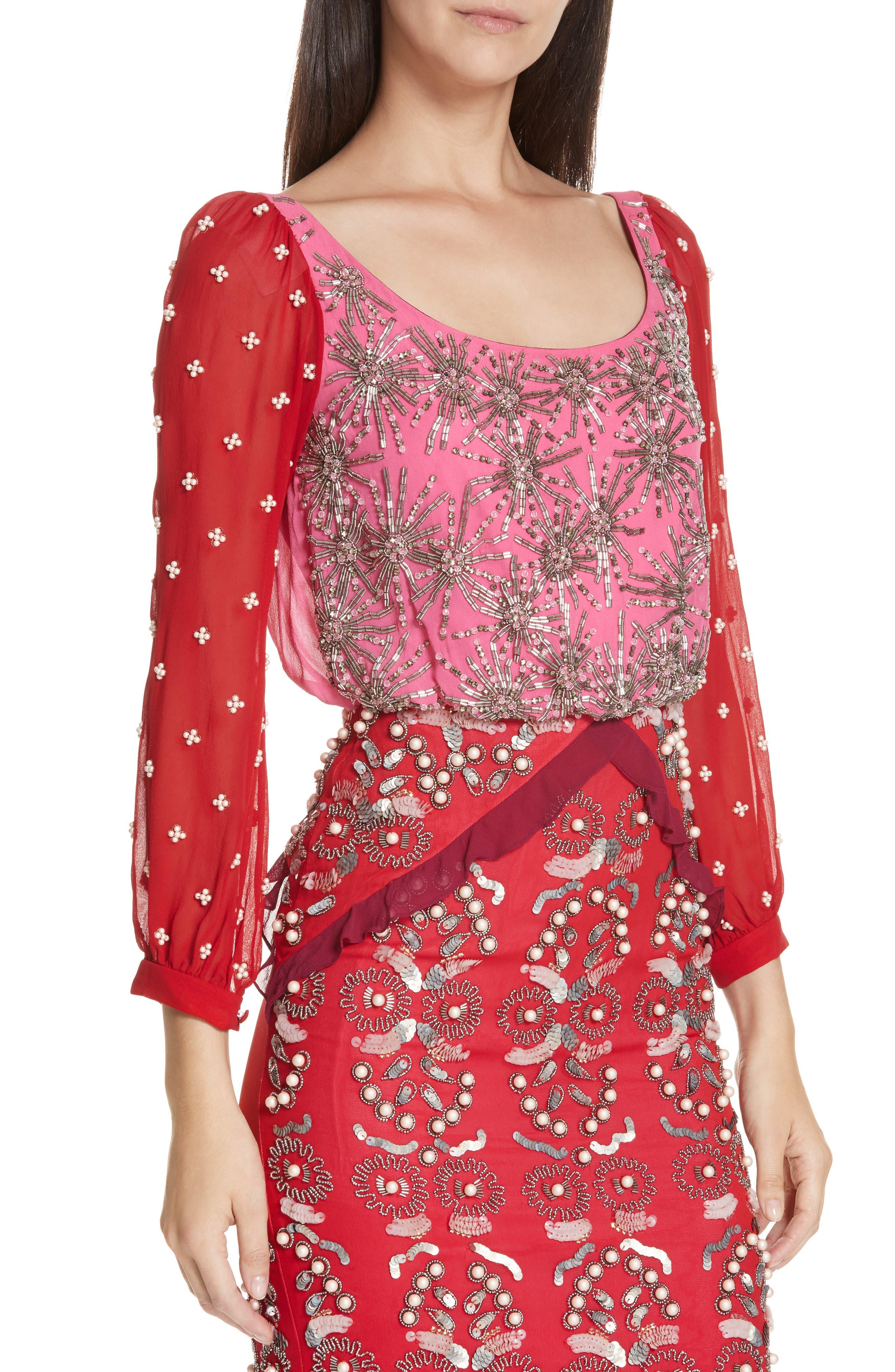 SALONI, Isa Beaded Colorblock Silk Midi Dress, Alternate thumbnail 4, color, PINK/ CHERRY