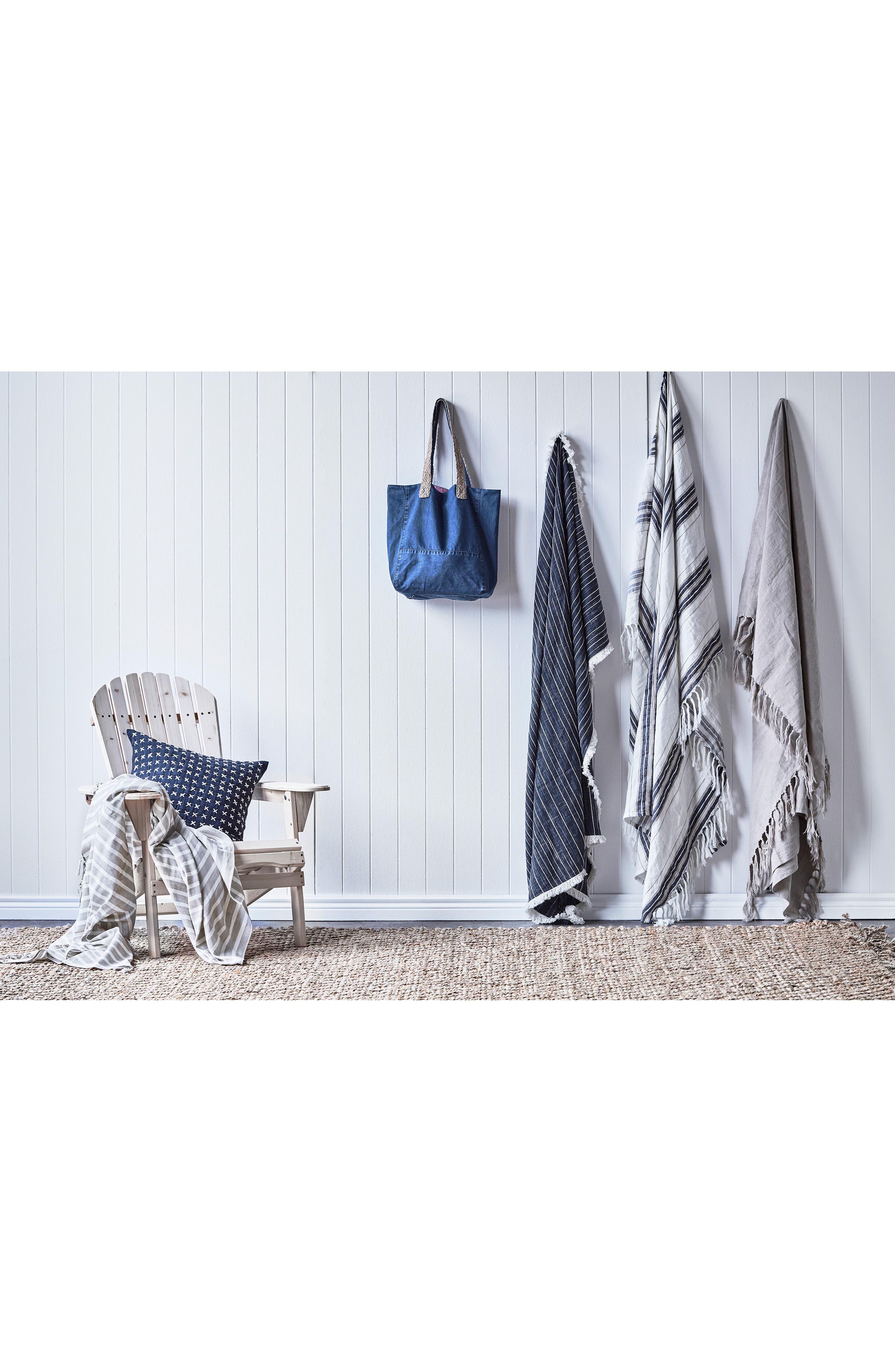 EADIE LIFESTYLE, Coitier Linen & Cotton Throw Blanket, Alternate thumbnail 2, color, SLATE/ WHITE