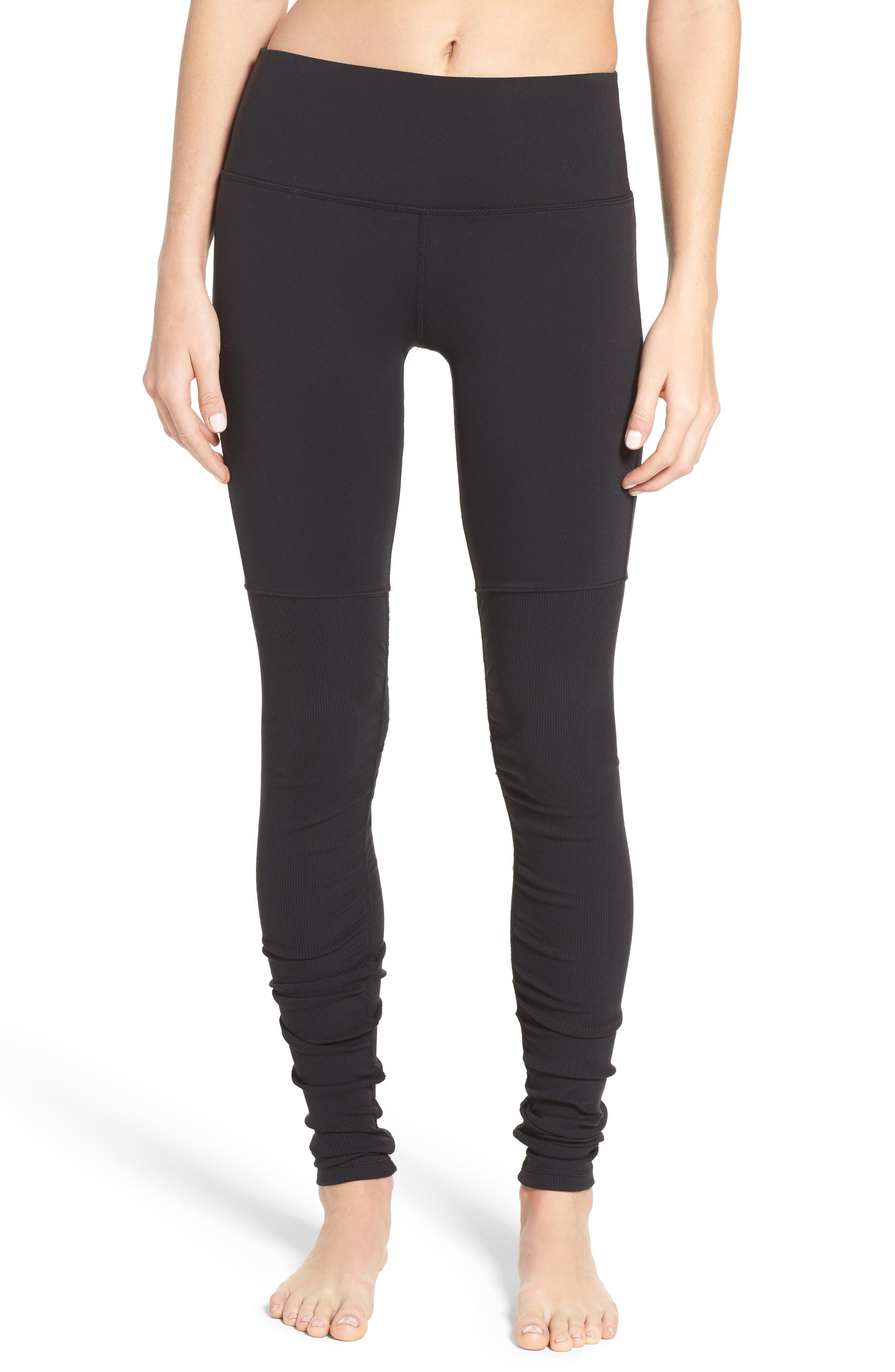 ALO Goddess High Waist Leggings, Main, color, BLACK/ BLACK
