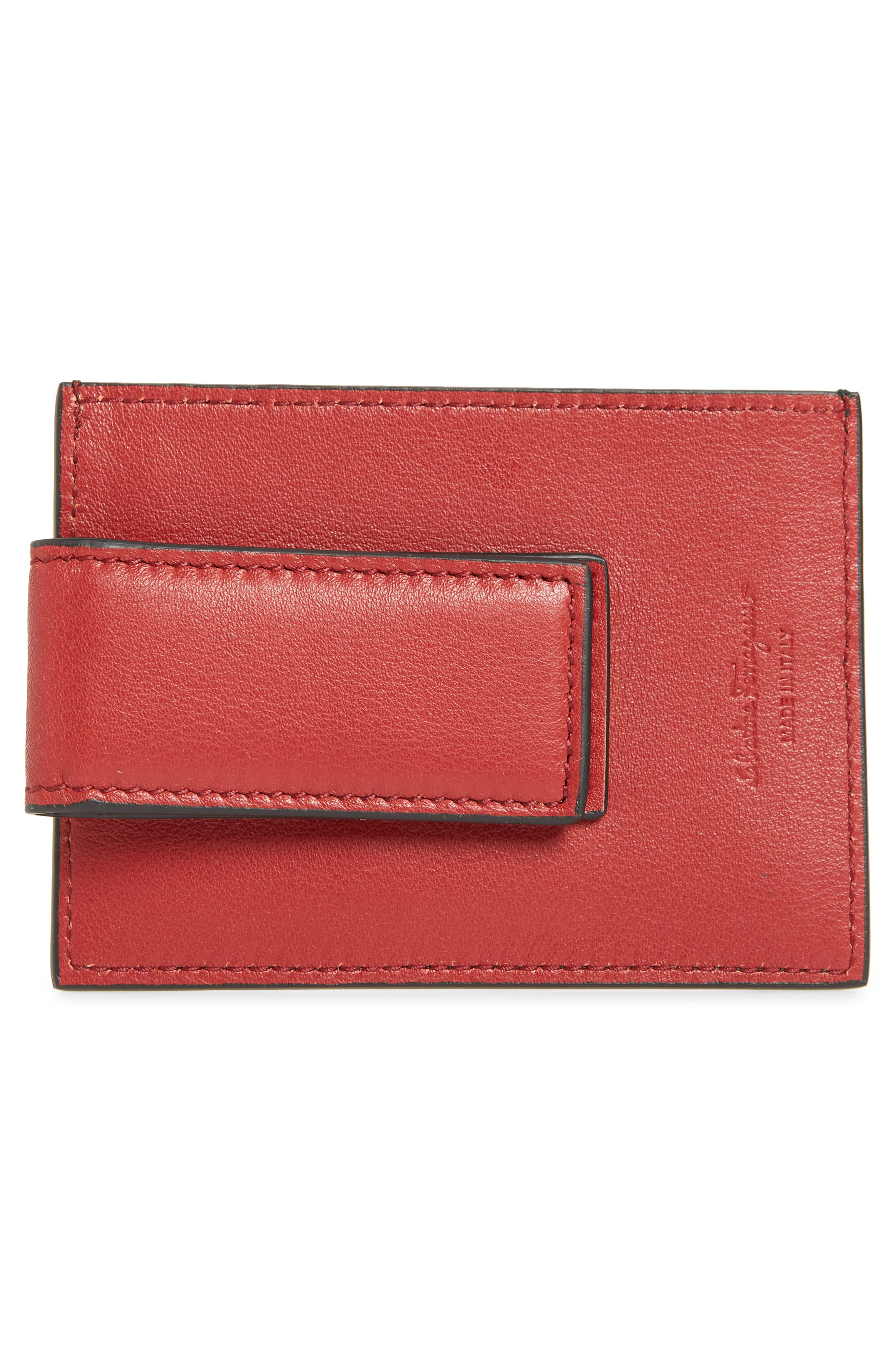 SALVATORE FERRAGAMO, Revival Leather Magnetic Money Clip Card Case, Alternate thumbnail 2, color, 979