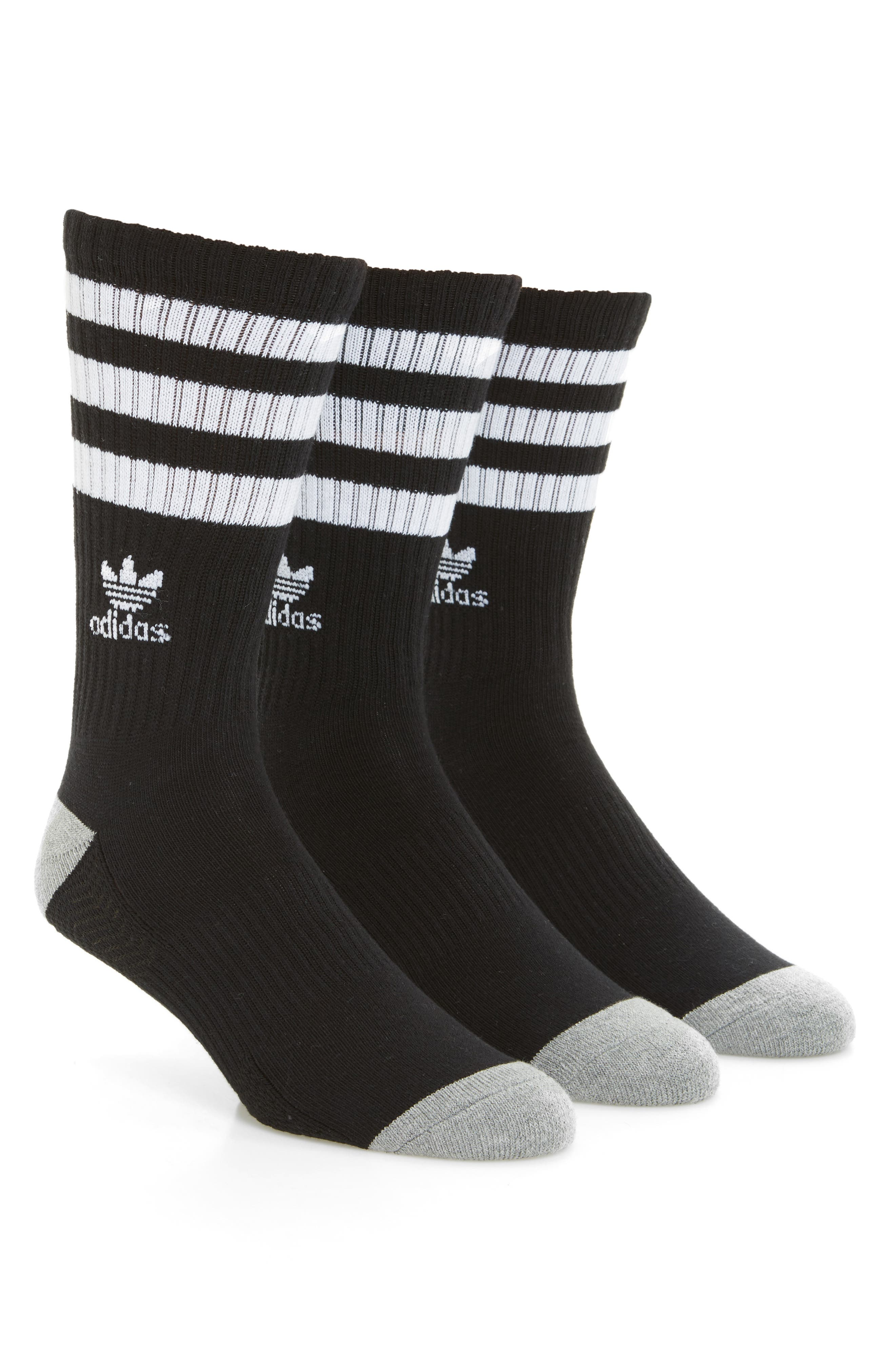 ADIDAS ORIGINALS, 3-Pack Original Roller Crew Socks, Main thumbnail 1, color, BLACK/ WHITE