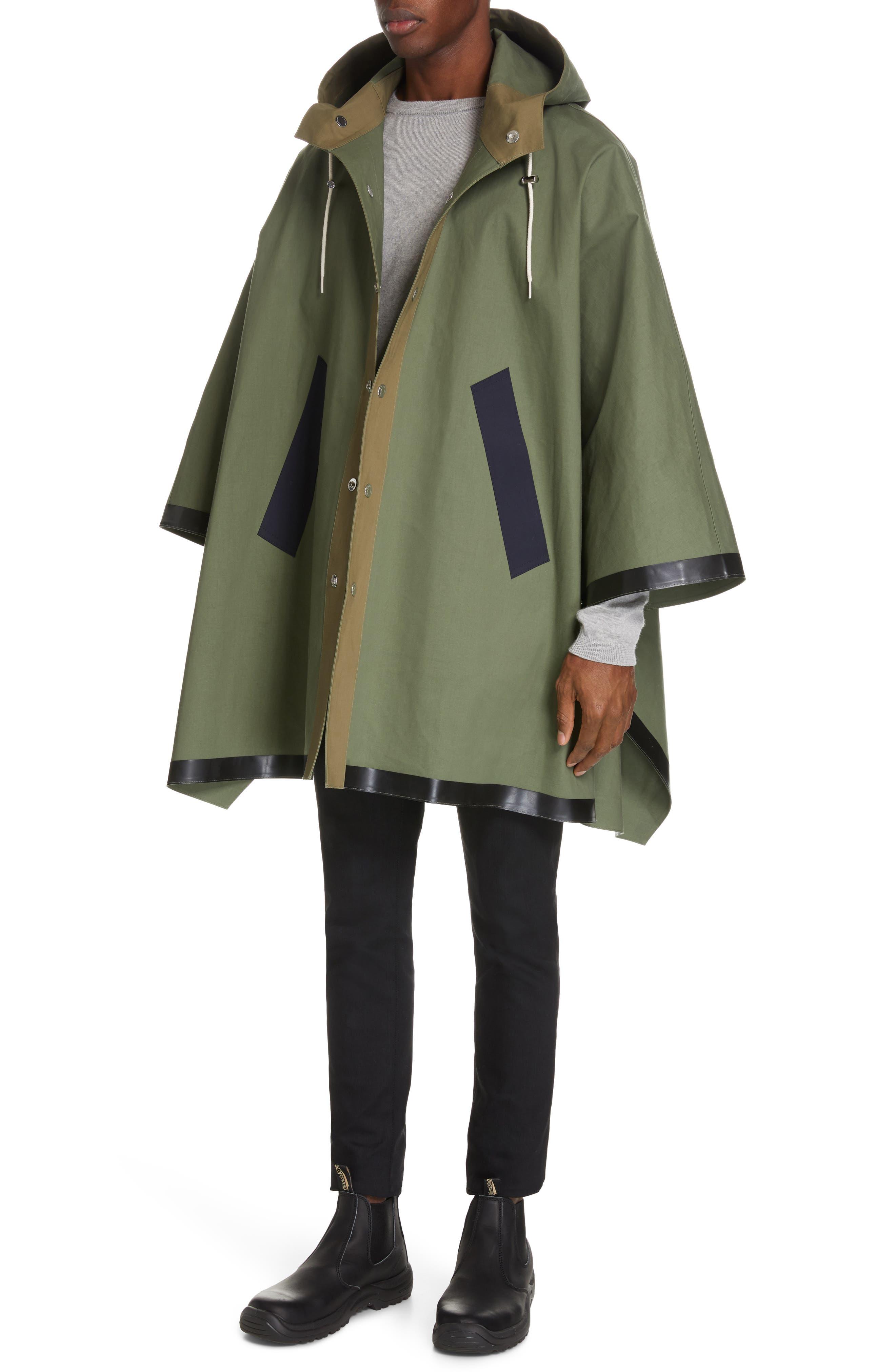 MACKINTOSH, Gents Bonded Cotton Hooded Poncho, Alternate thumbnail 4, color, FOUR LEAF CLOVER/ BLUE DEPTH