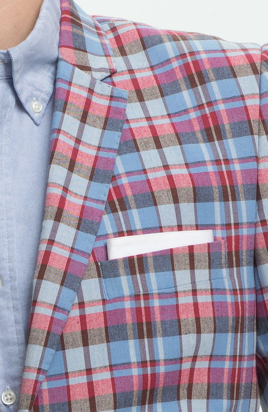 JOHN W. NORDSTROM<SUP>®</SUP>, Madras Cotton Sportcoat, Alternate thumbnail 3, color, 600