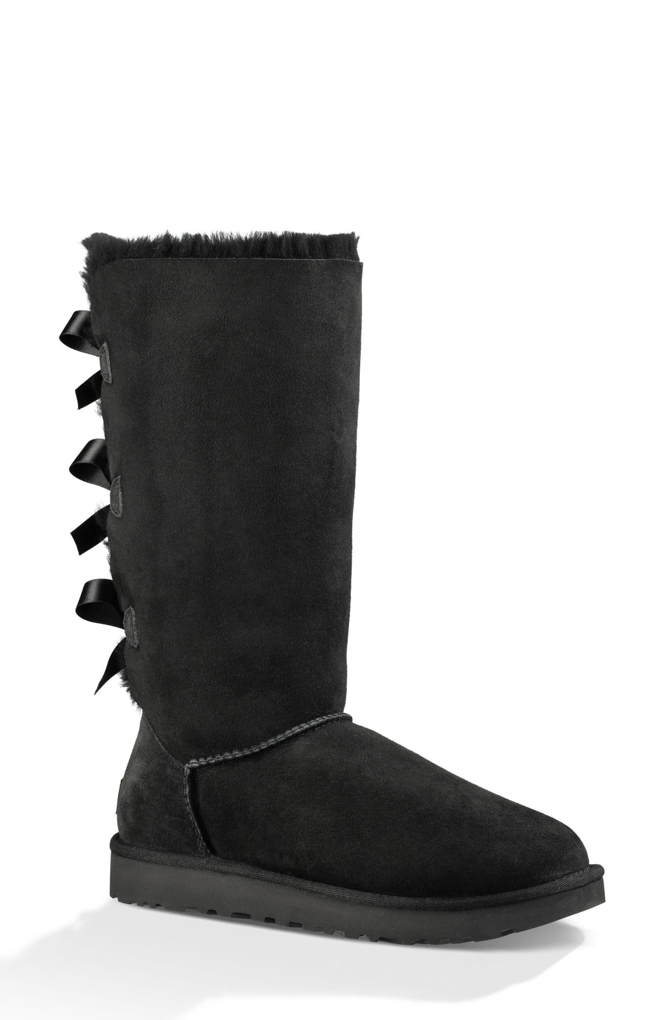 UGG<SUP>®</SUP> Bailey Bow Tall II Boot, Main, color, BLACK SUEDE