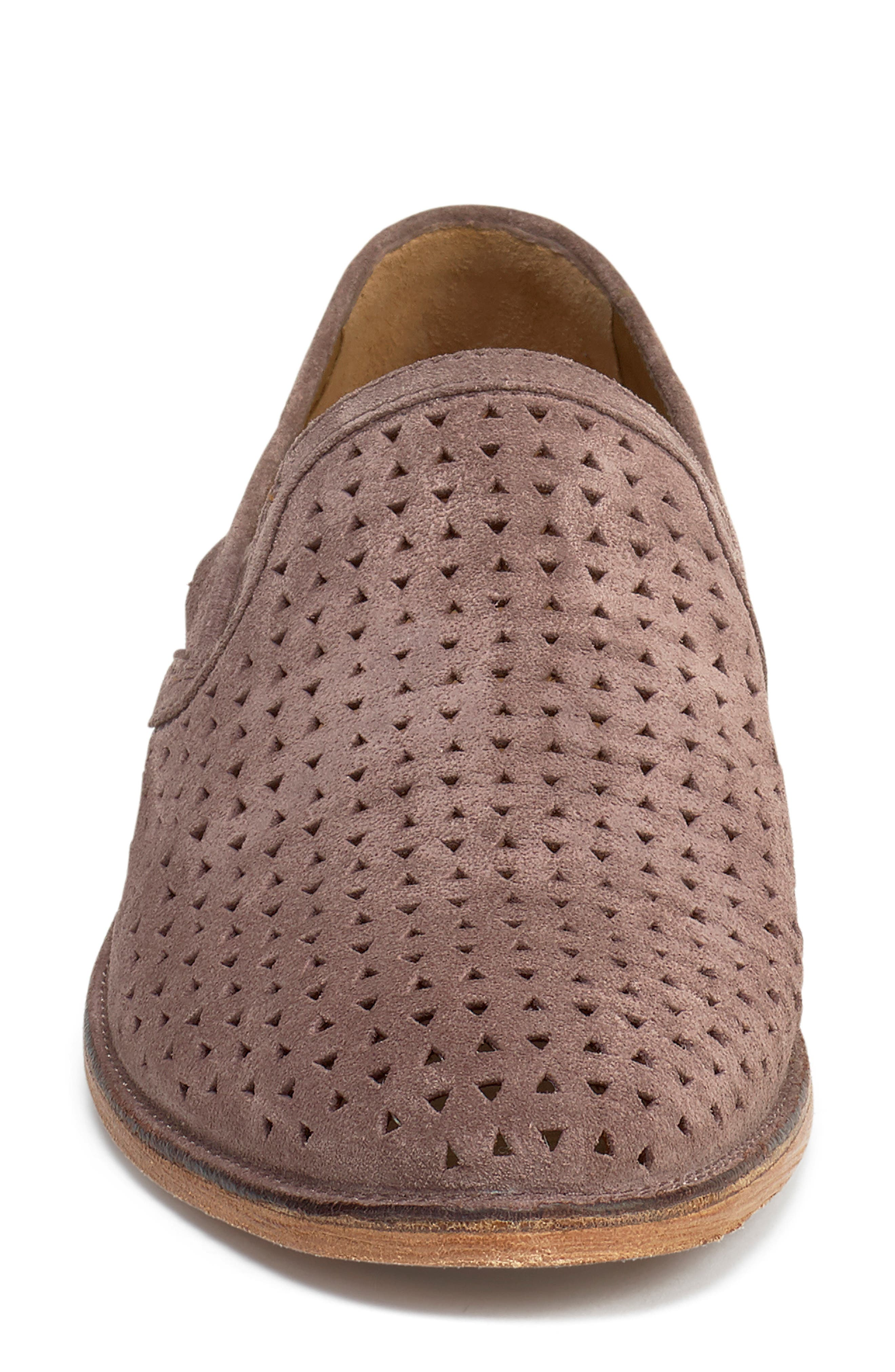 TRASK, Ali Perforated Loafer, Alternate thumbnail 4, color, BLUSH SUEDE
