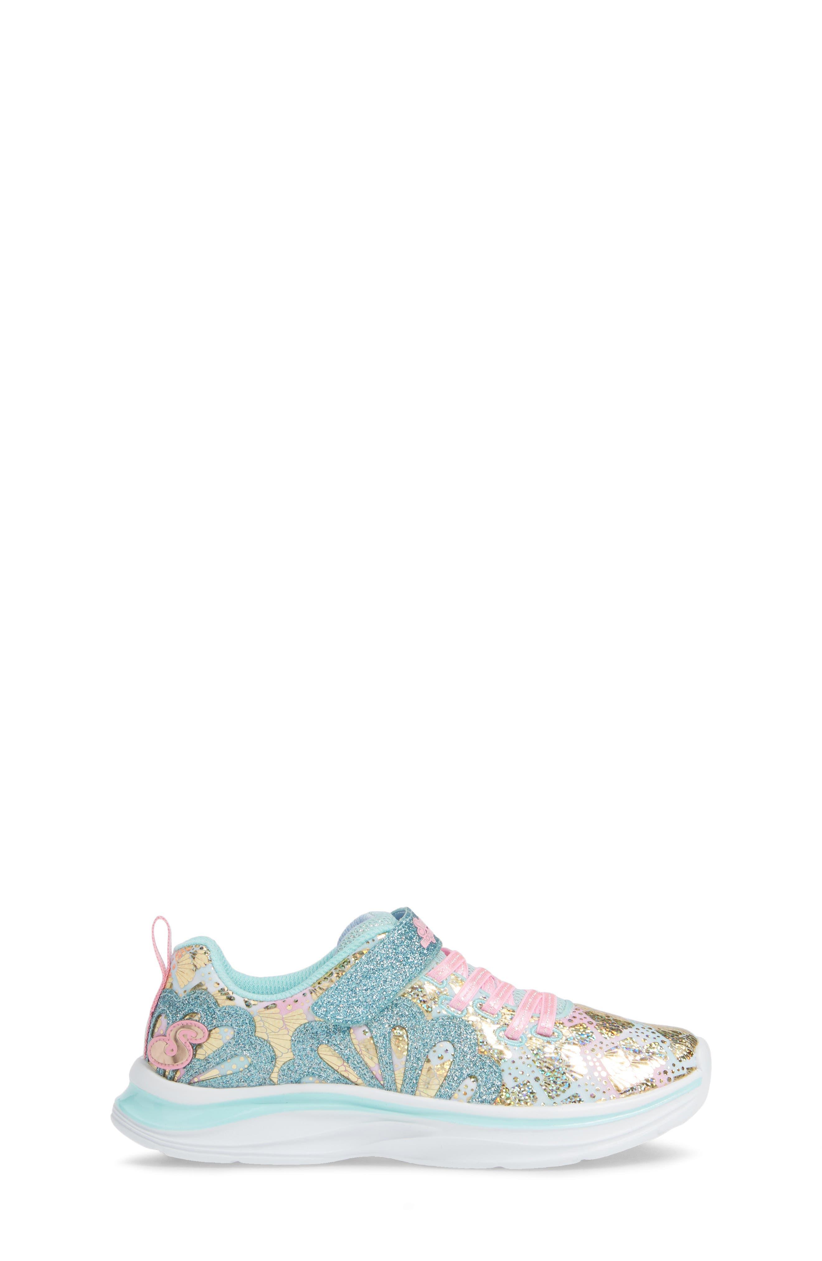 SKECHERS, Double Dreams Shimmer Sneaker, Alternate thumbnail 3, color, AQUA/ PINK TEXTILE