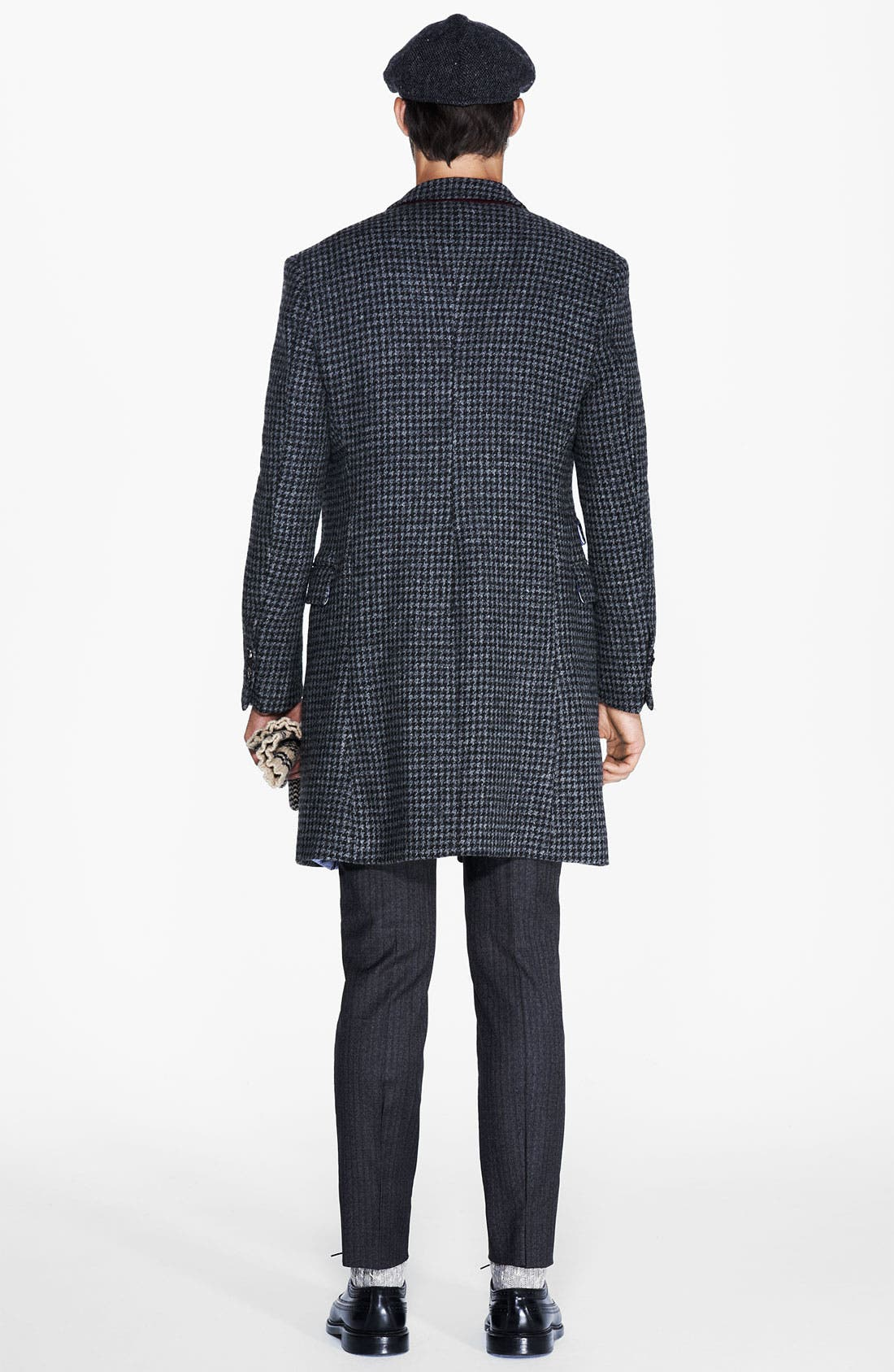 MICHAEL BASTIAN, Double Breasted Houndstooth Topcoat, Alternate thumbnail 2, color, 028