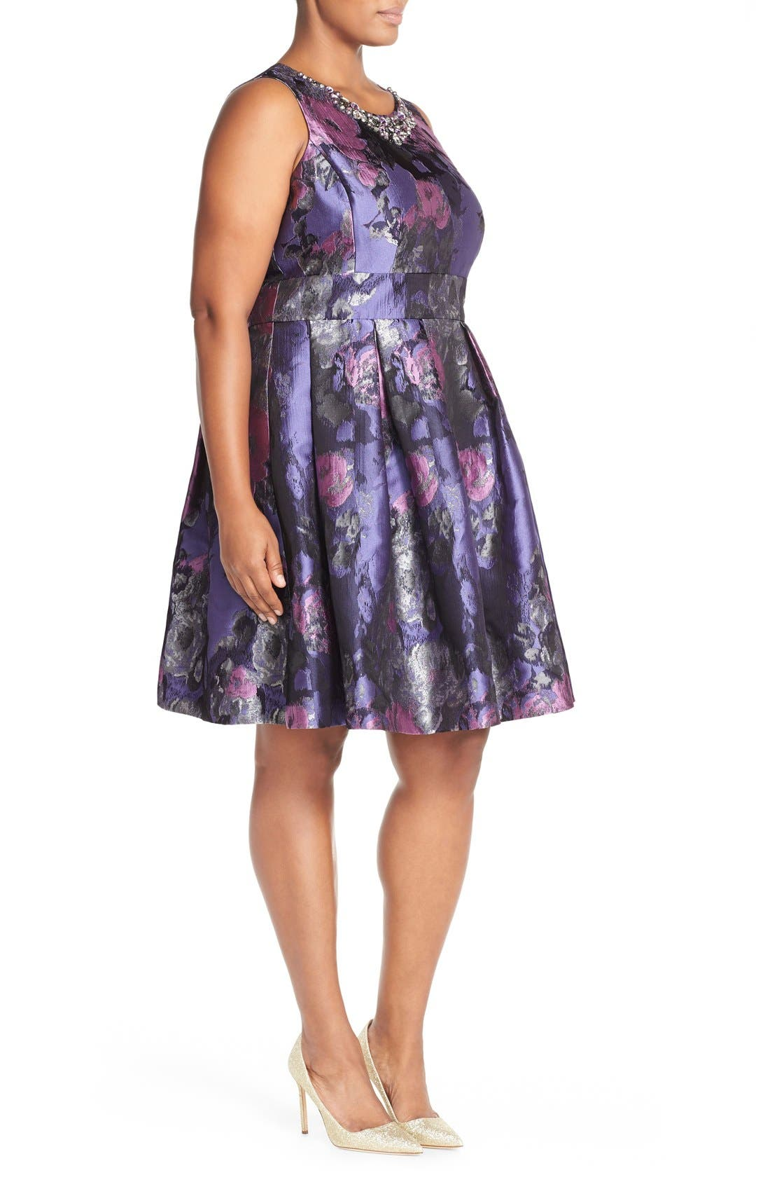 ELIZA J, Embellished Neck Metallic Jacquard Fit & Flare Dress, Alternate thumbnail 4, color, 523
