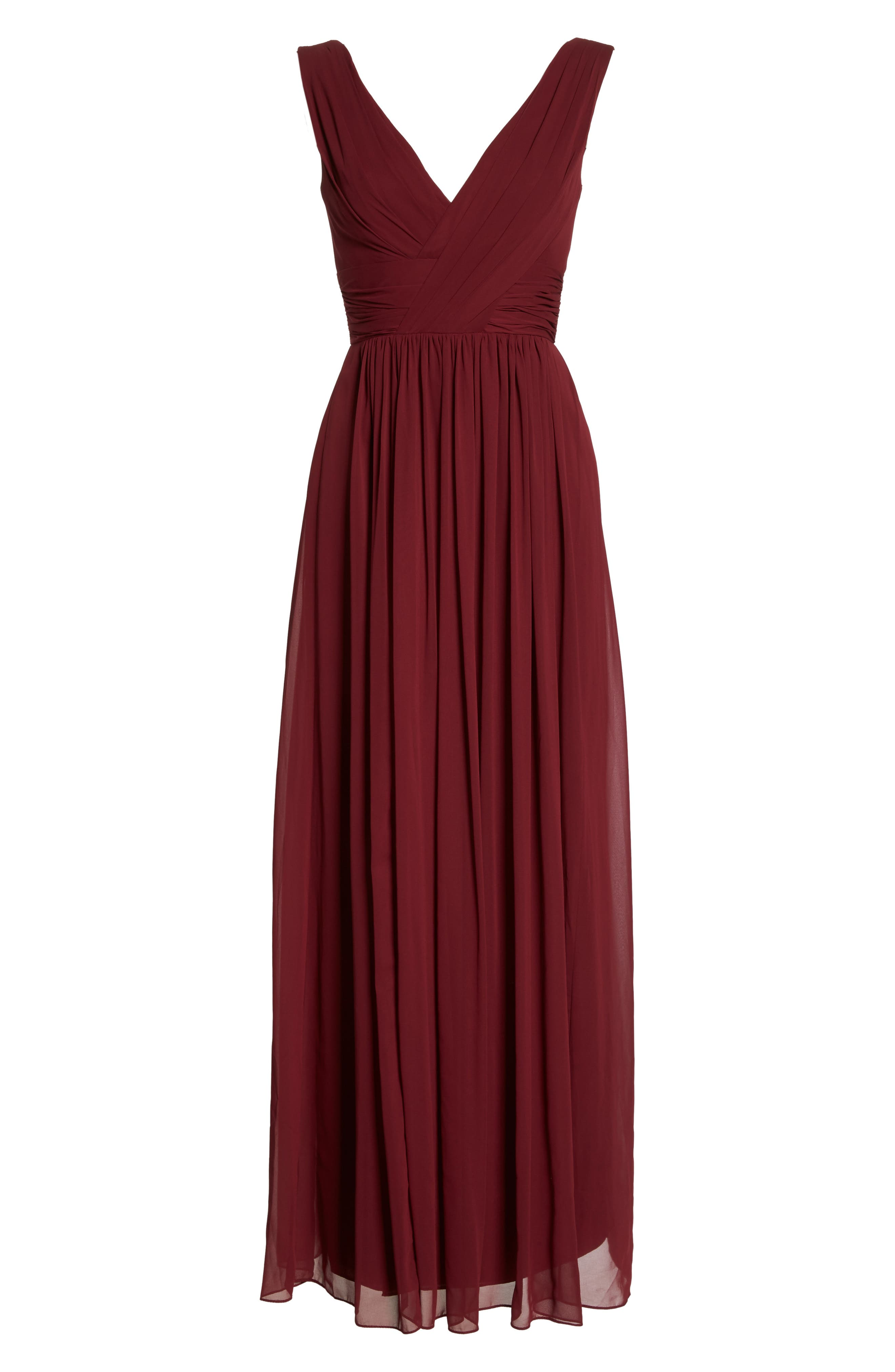 Dessy Collection Lux V-Neck Chiffon Gown, 8 (similar to 1) - Red