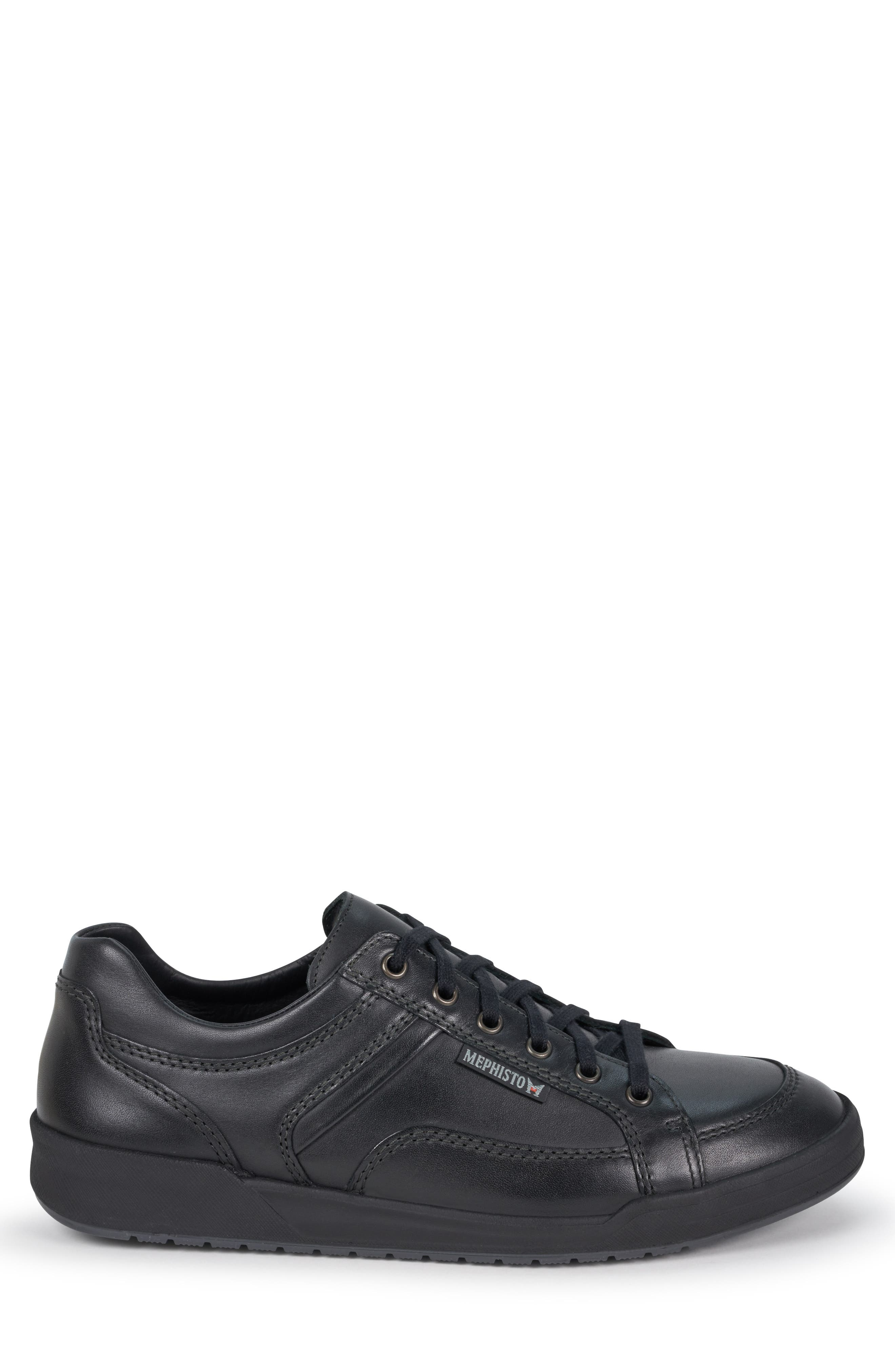 MEPHISTO, 'Rodrigo' Sneaker, Alternate thumbnail 3, color, BLACK/BLACK LEATHER