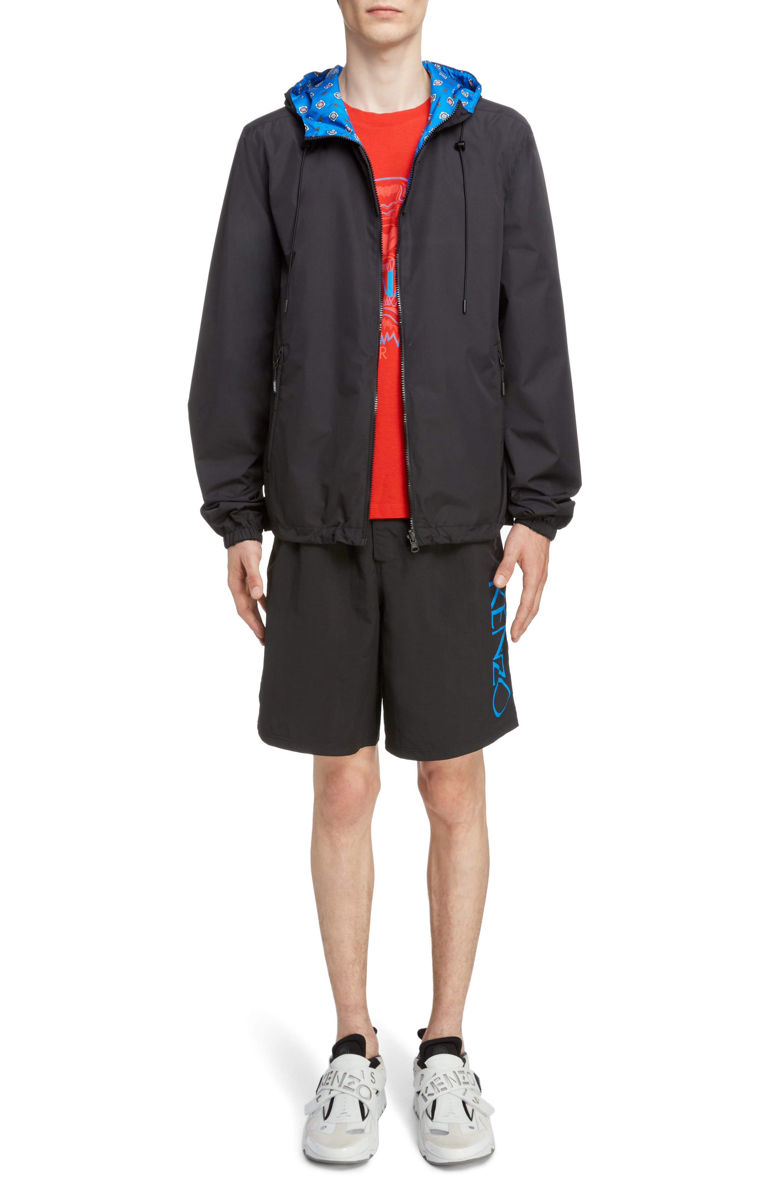 KENZO, Reversible Hooded Windbreaker, Alternate thumbnail 7, color, BLACK