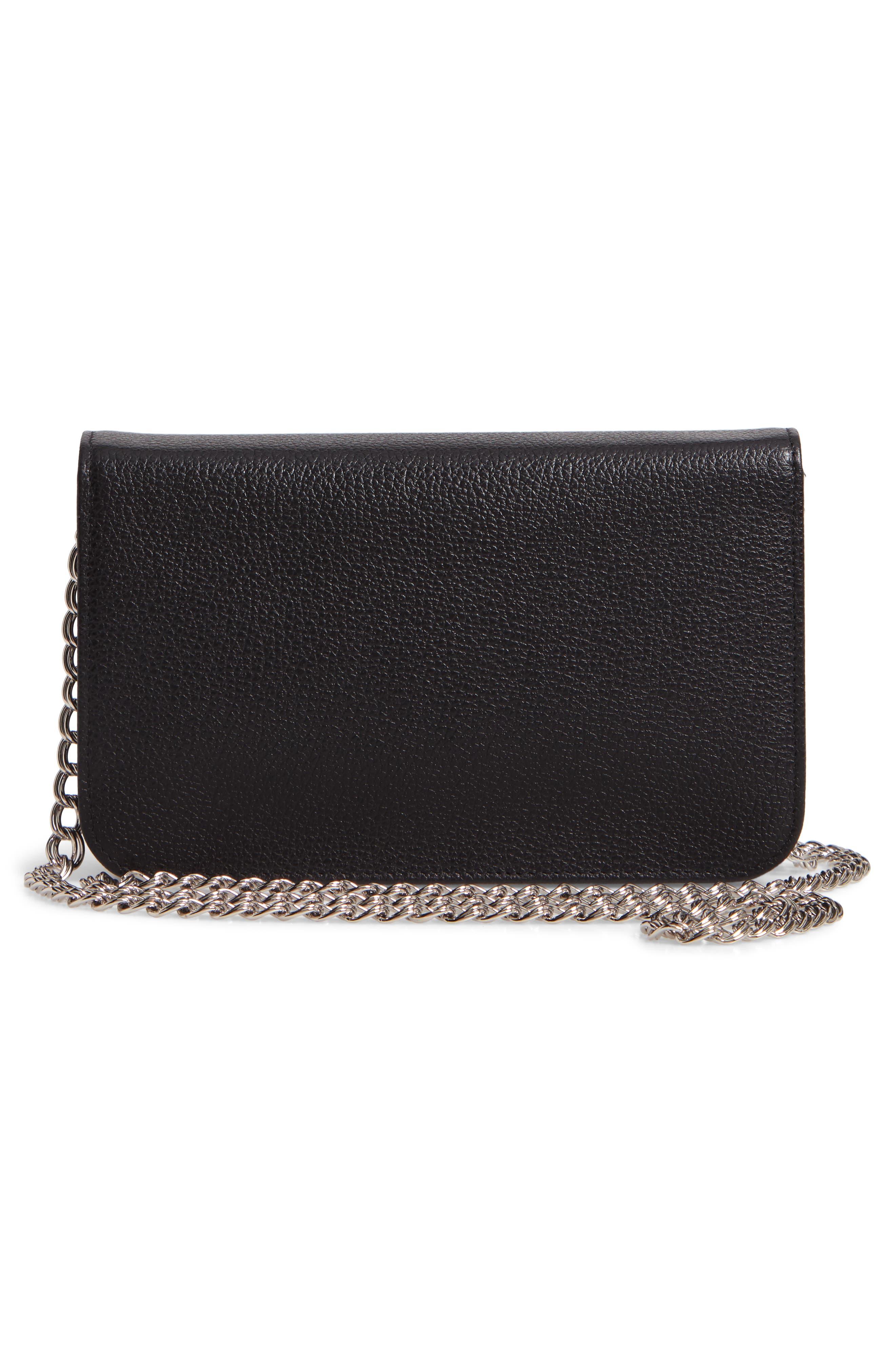 LONGCHAMP, Le Foulonné Leather Wallet on a Chain, Alternate thumbnail 3, color, BLACK