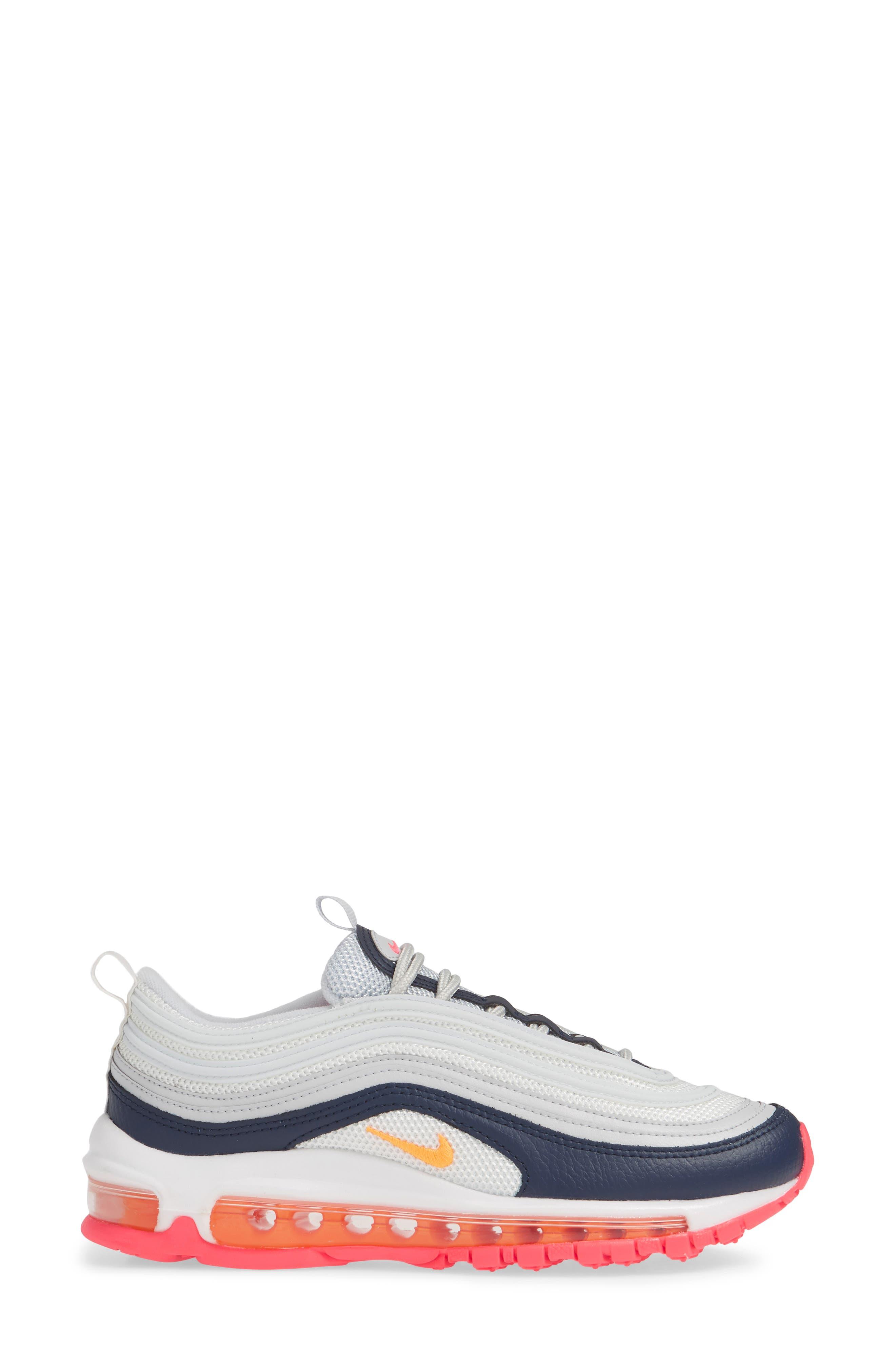 NIKE, Air Max 97 Sneaker, Alternate thumbnail 3, color, PLATINUM/ LASER ORANGE/ NAVY