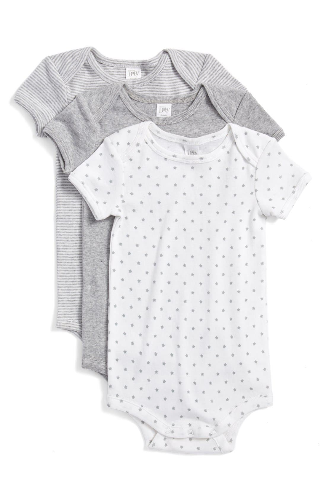 NORDSTROM BABY, Cotton Bodysuits, Main thumbnail 1, color, GREY ASH HEATHER PACK