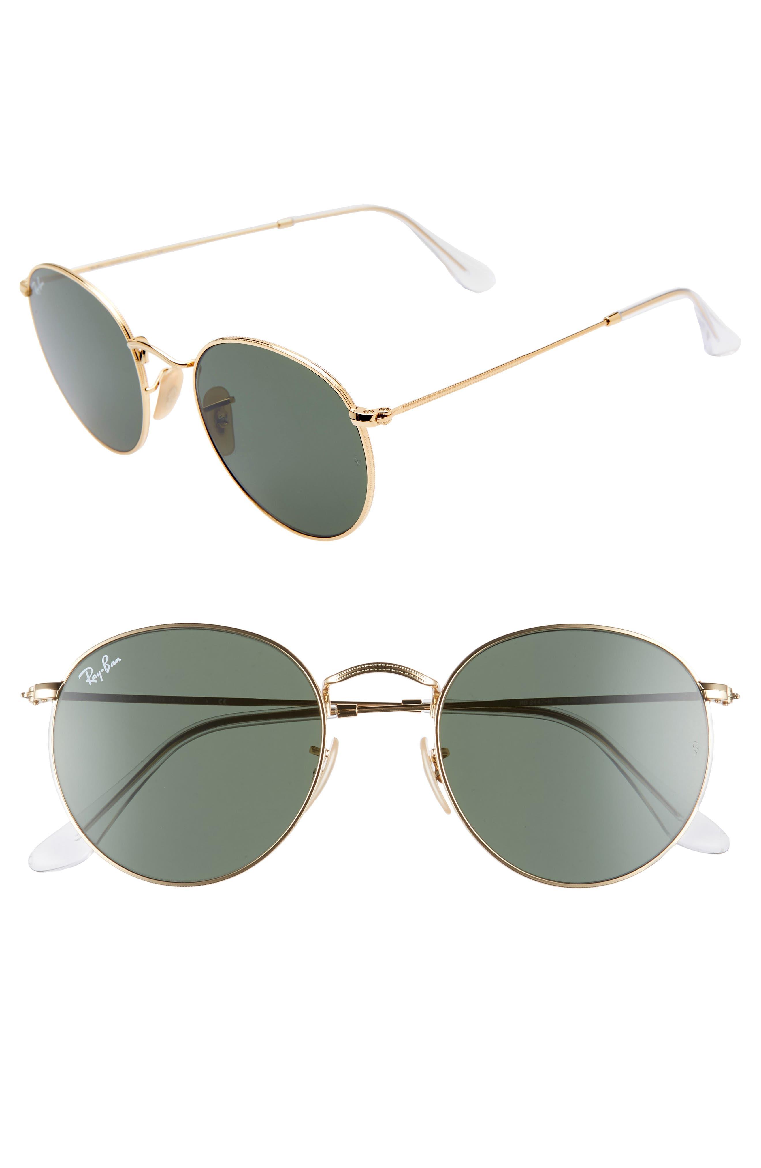 RAY-BAN, 53mm Round Sunglasses, Main thumbnail 1, color, 710