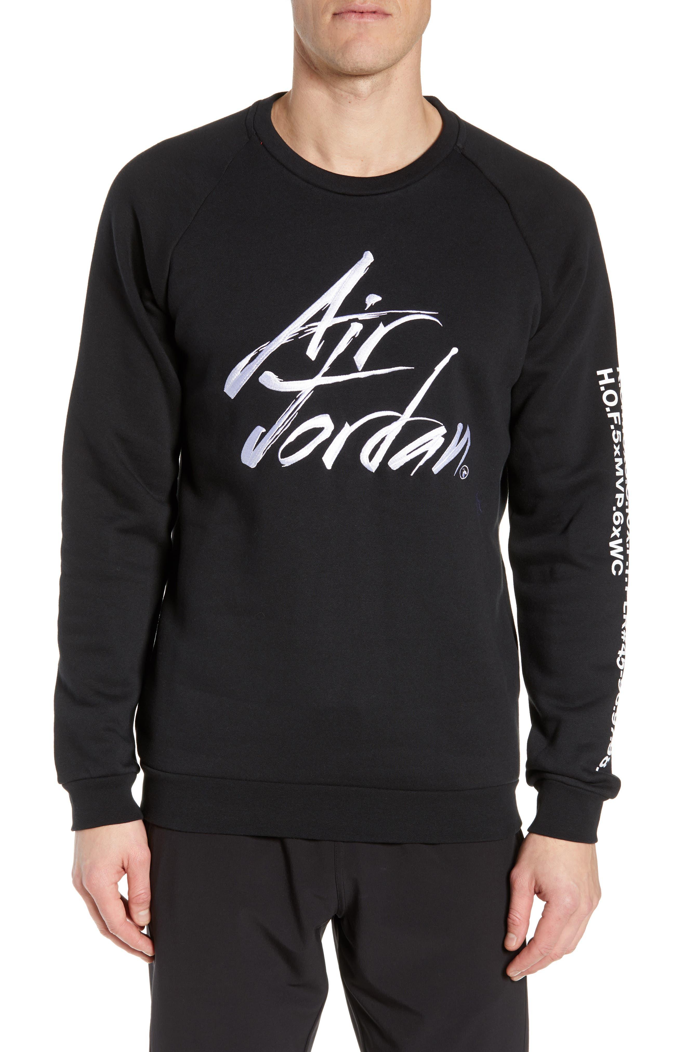 JORDAN, JSW Greatest Stats Graphic Sweatshirt, Main thumbnail 1, color, BLACK
