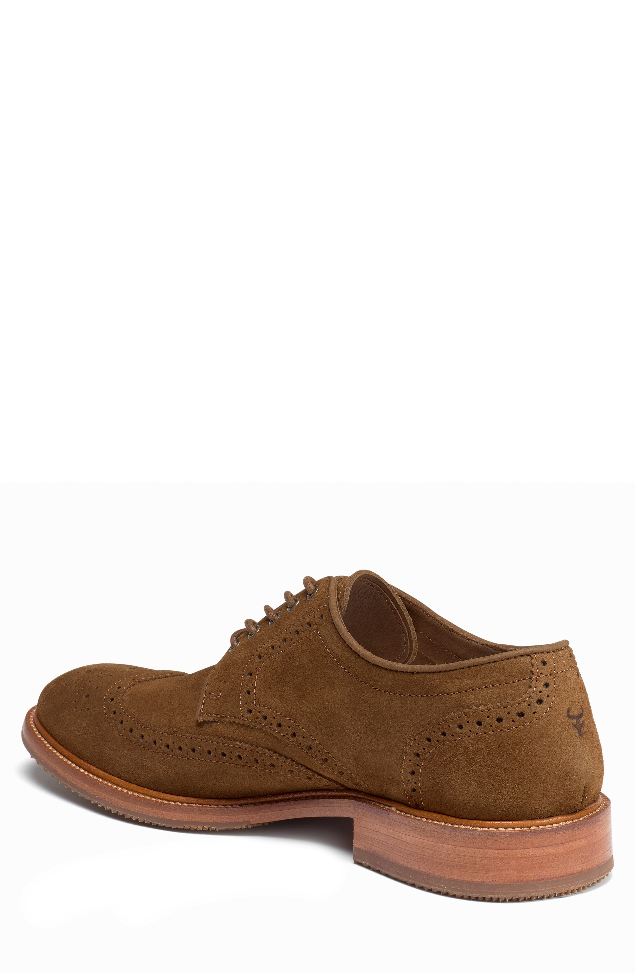 TRASK, Logan Wingtip Derby, Alternate thumbnail 2, color, SNUFF SUEDE