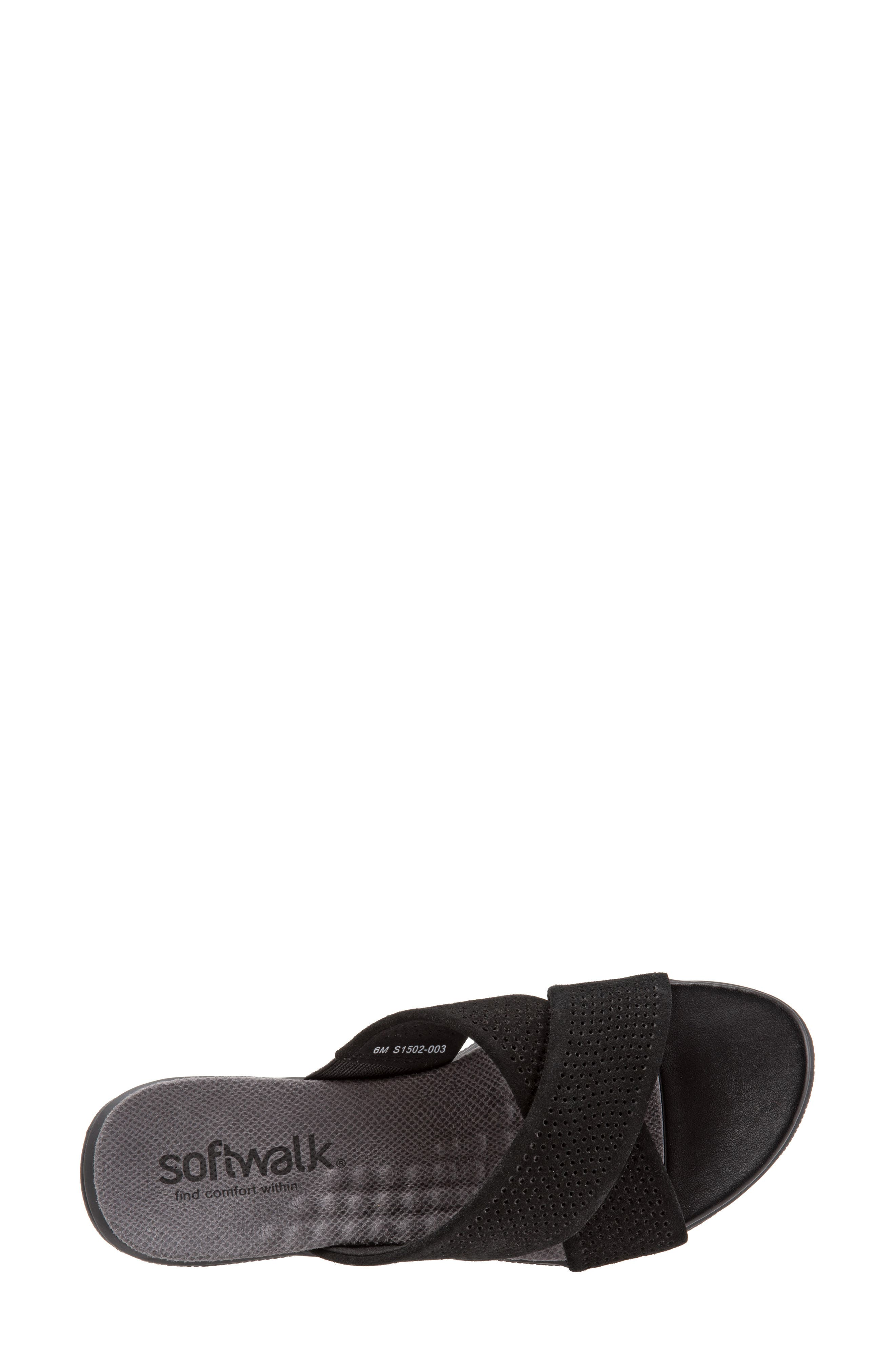SOFTWALK<SUP>®</SUP>, 'Tillman' Leather Cross Strap Slide Sandal, Alternate thumbnail 5, color, 002