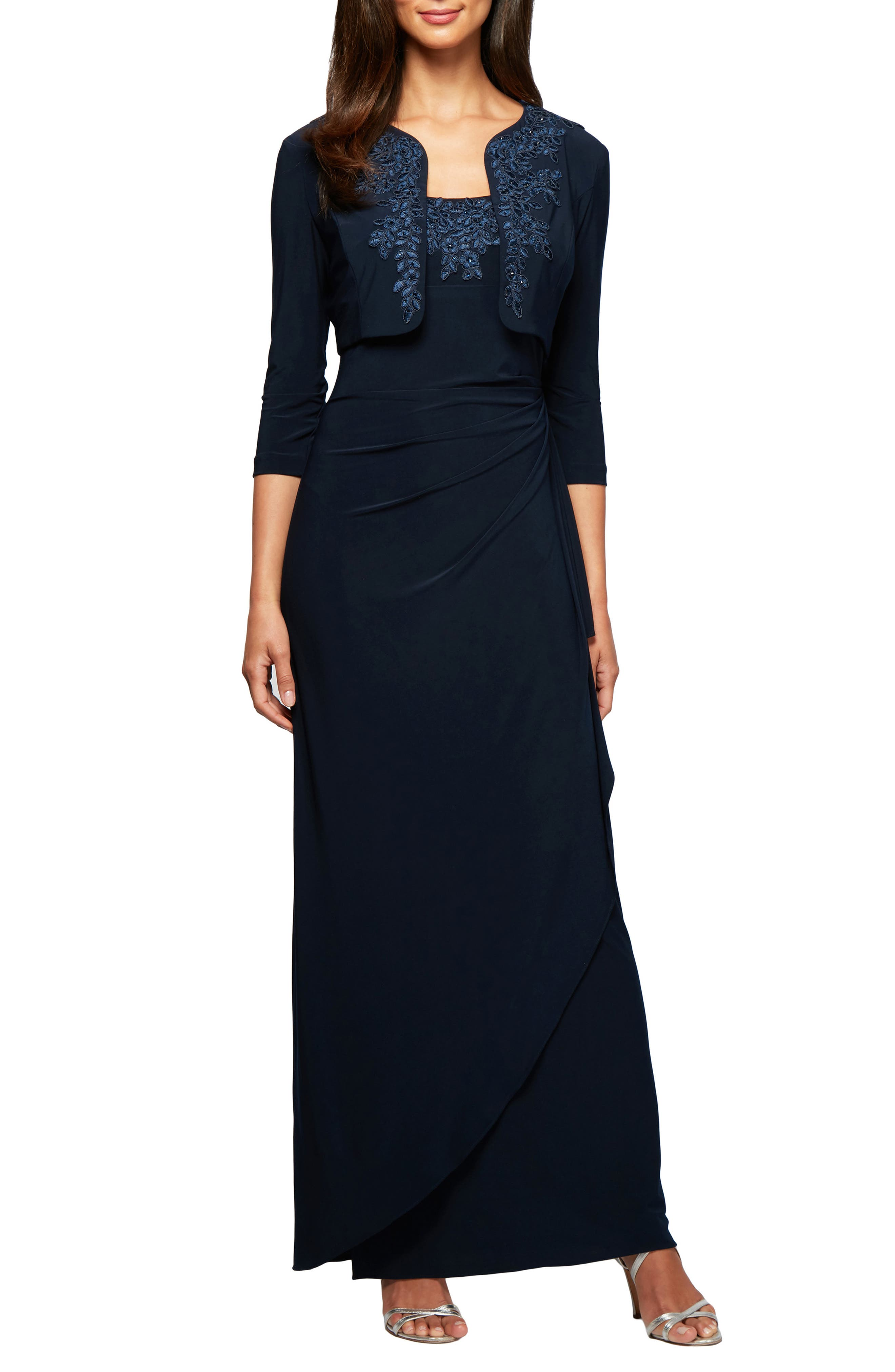 ALEX EVENINGS, Side Ruched Evening Dress with Bolero, Main thumbnail 1, color, 410