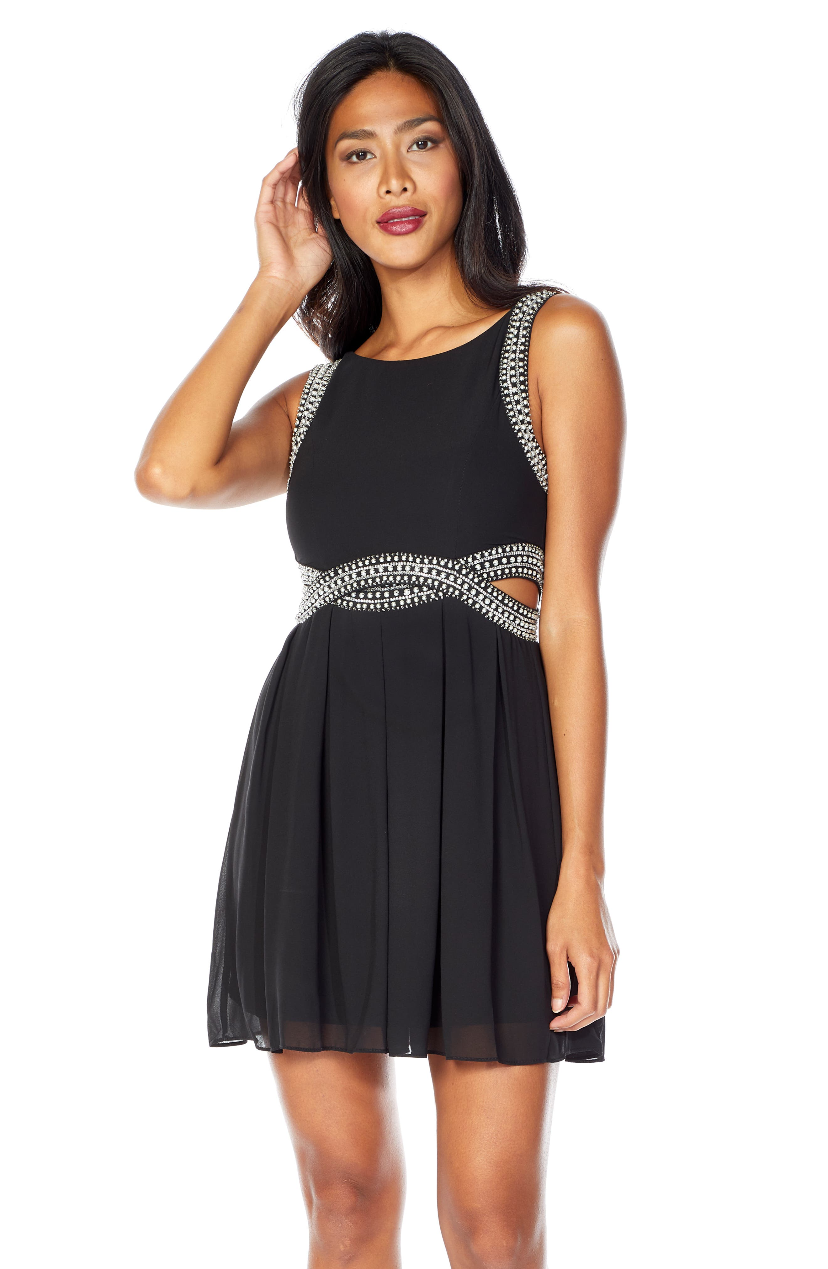 TFNC, Malaga Beaded Minidress, Alternate thumbnail 4, color, BLACK