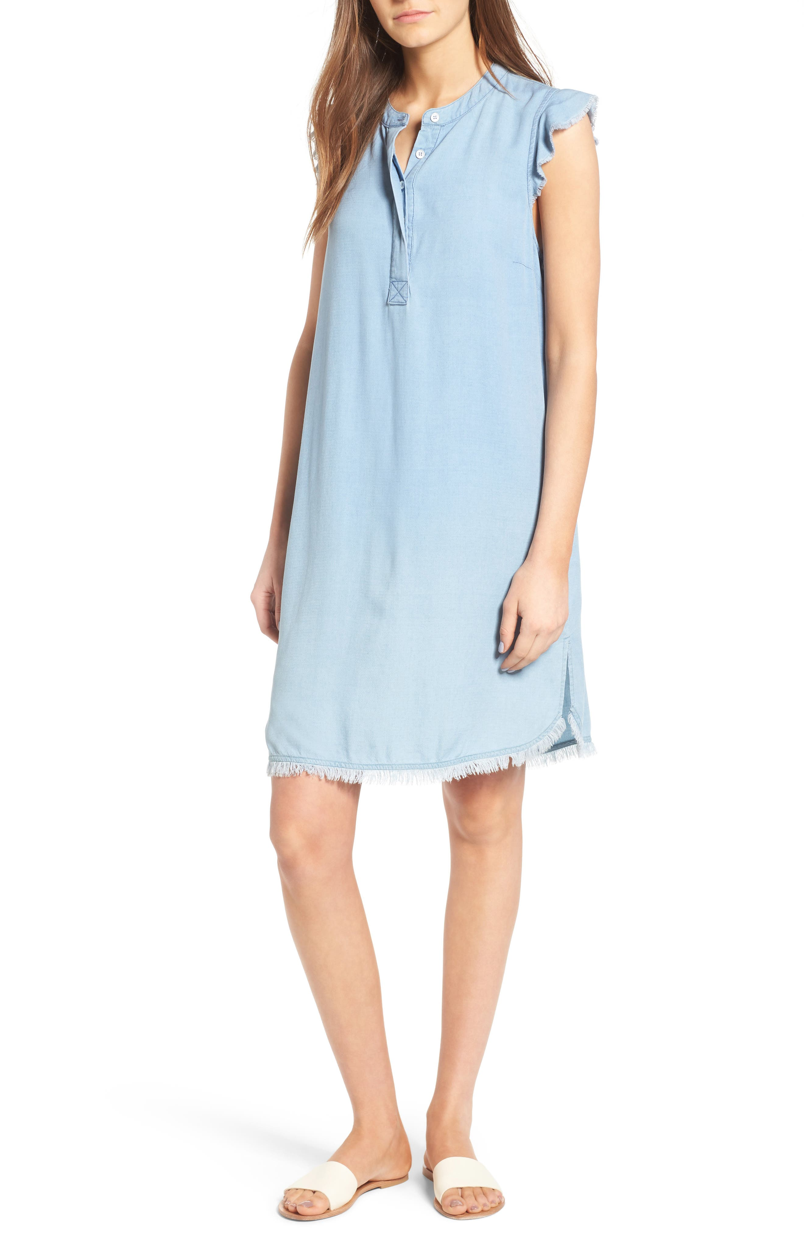 SPLENDID Chambray Shift Dress, Main, color, 400