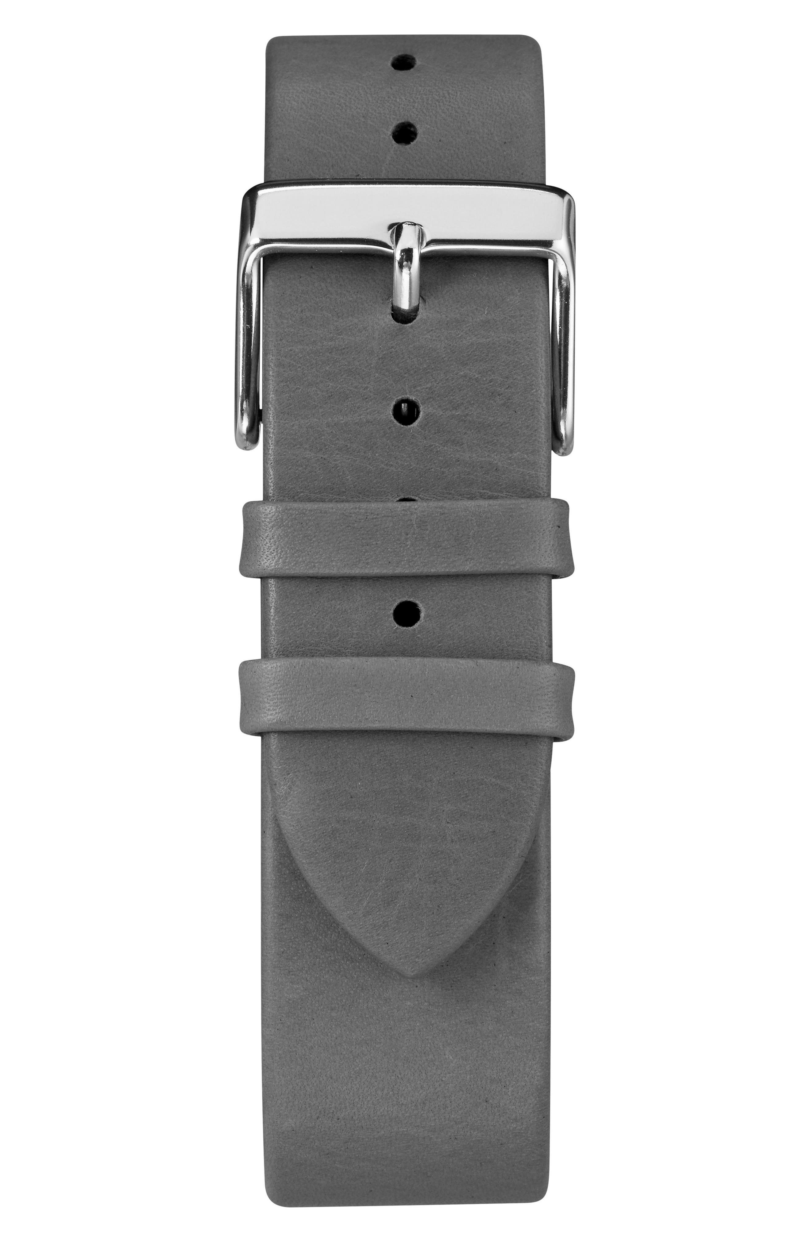TIMEX<SUP>®</SUP>, Fairfield Leather Strap Watch, 41mm, Alternate thumbnail 3, color, BLACK/ WHITE/ SILVER