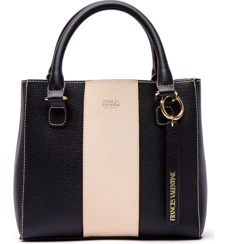 Frances Valentine Totes SMALL CHLOE STRIPE LEATHER TOTE - BLACK