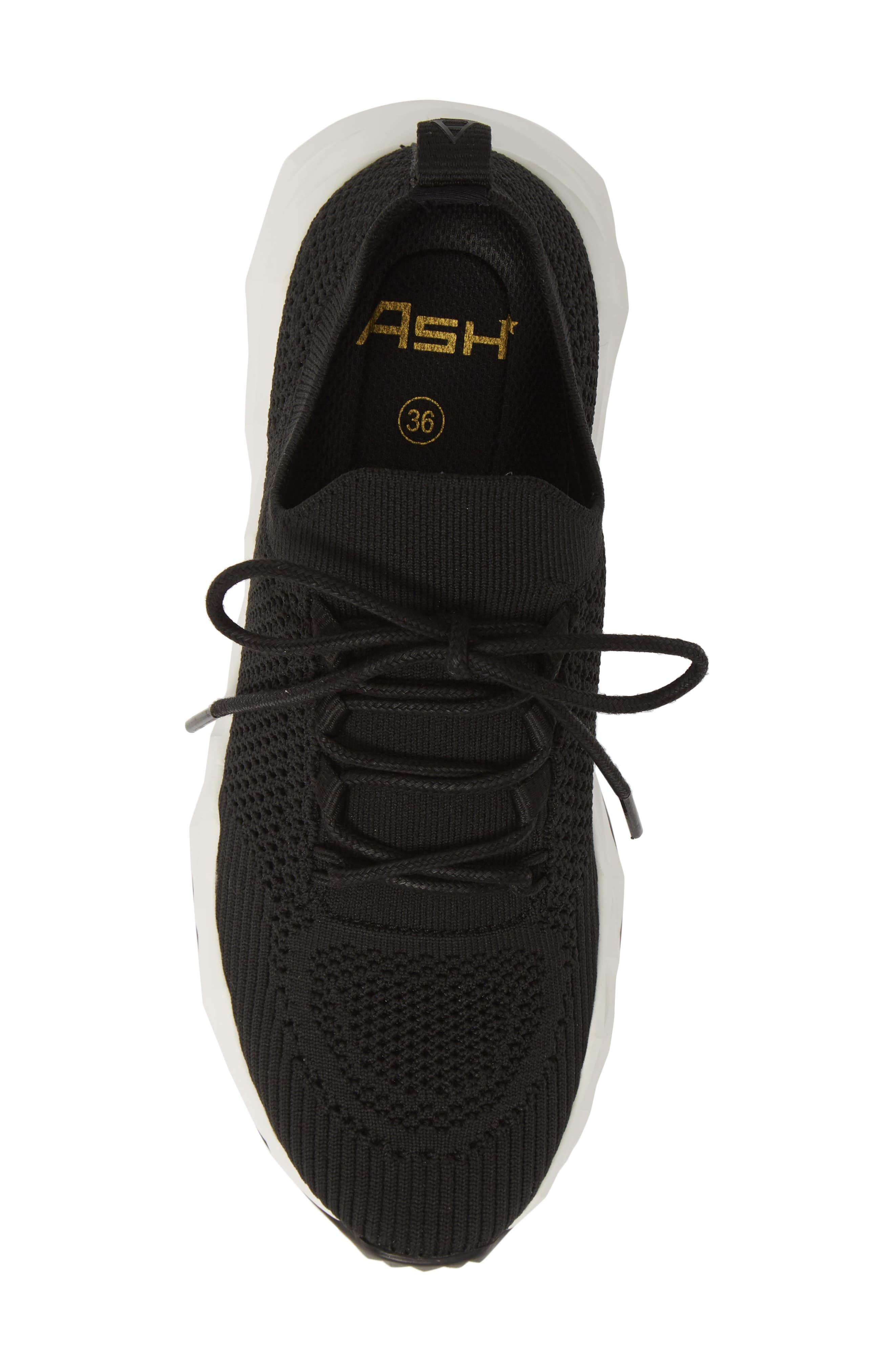 ASH, Knit Skate Sneaker, Alternate thumbnail 5, color, BLACK/ BLACK