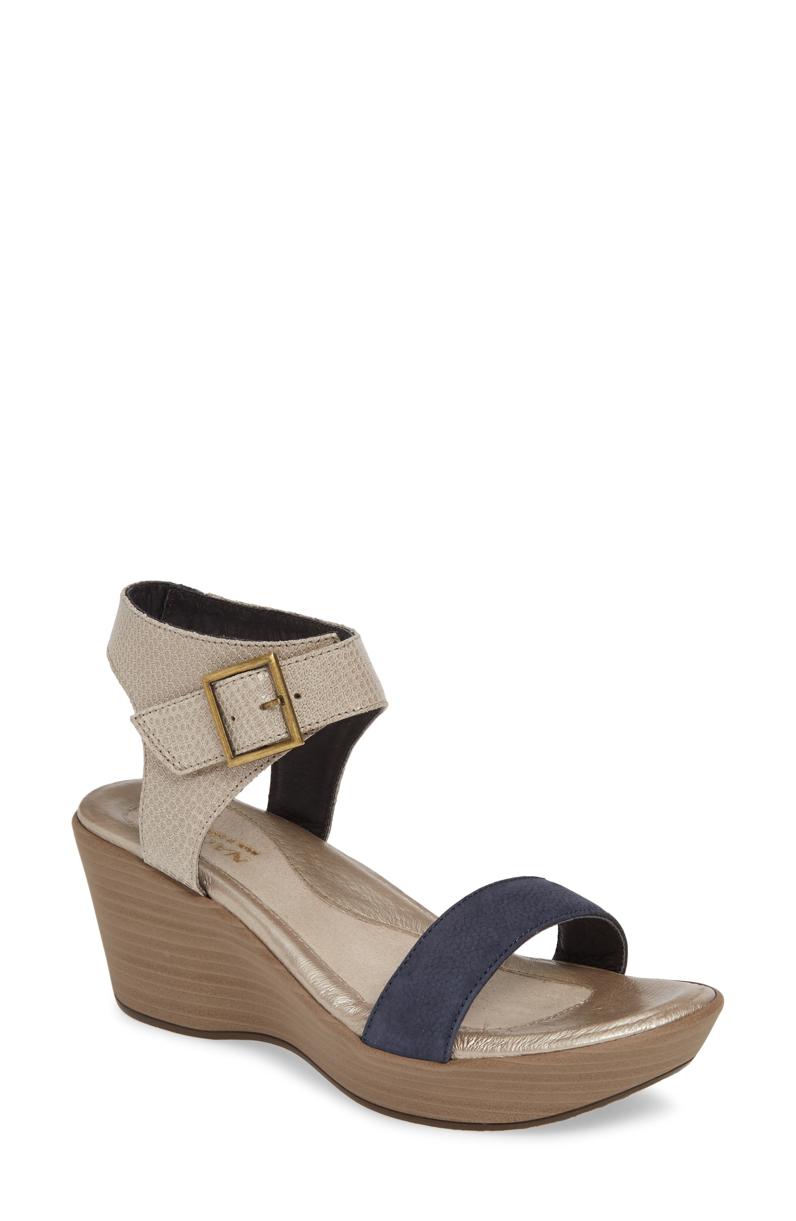 NAOT, Caprice Wedge Sandal, Main thumbnail 1, color, BEIGE LIZARD/ NAVY VELVET