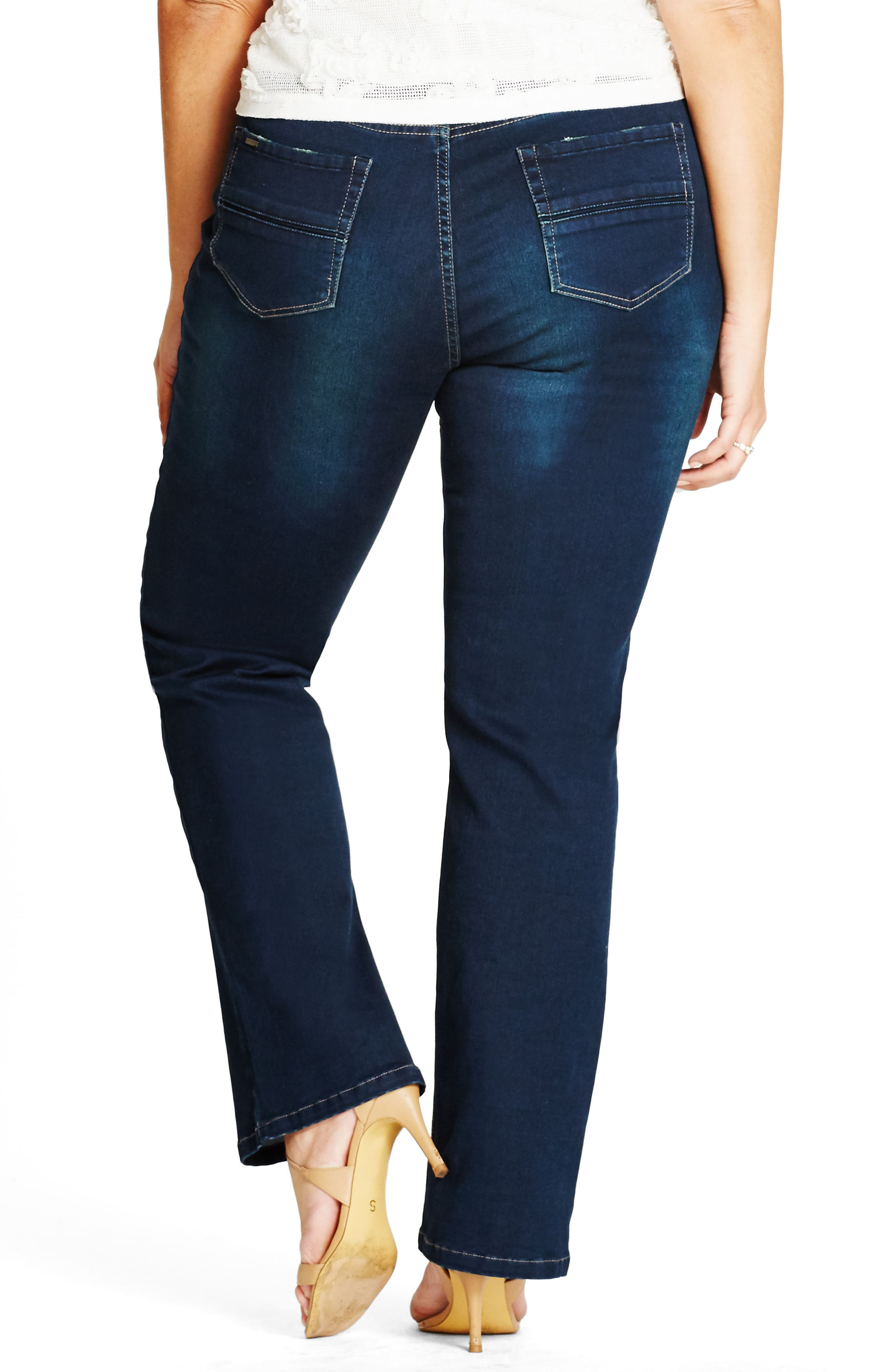 CITY CHIC, Harley Bootcut Jeans, Alternate thumbnail 2, color, DENIM MID
